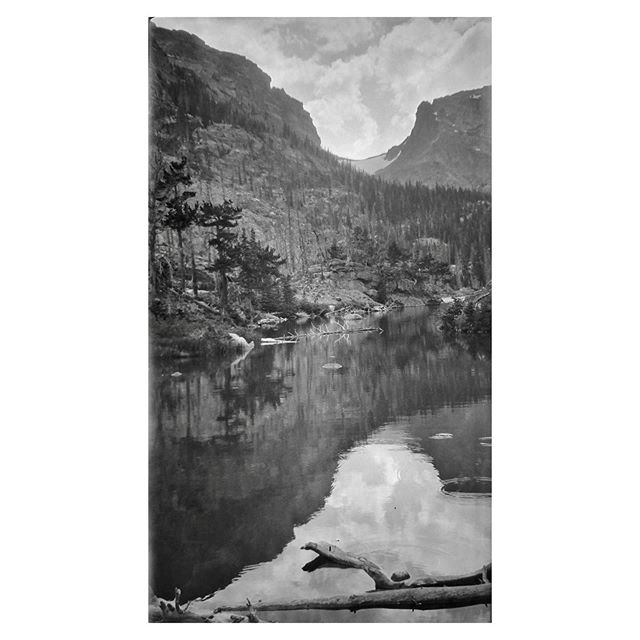 "That view! Negative numbers 41 from the Rocky Mountain Nat. Park Album - 1924 Captioned, ""L. Odessa Trap - from bridge approach, shore views"" #foundphoto #snapshot #familyslideshow #longlivefilm #nationalparks #rockymountainnationalpark #estespark #vacationpic #thatview #takeahike #baldplateinn #colorado #thoseclouds"