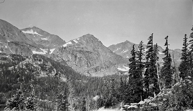 "Negative number 81 from the Rocky Mountain Nat. Park Album - 1924 Captioned, ""View from the trail"" #foundphoto #snapshot #familyslideshow #longlivefilm #kodak #nationalparks #rockymountainnationalpark  #estespark #4thofjuly #vacationpic #thatview #takeahike #1920sfashion"