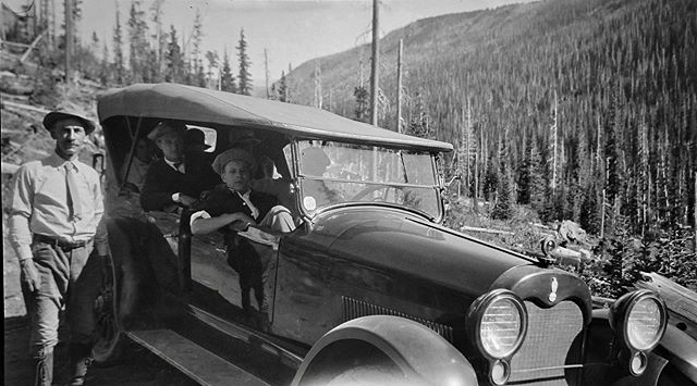 "Negative number 96 from the Rocky Mountain Nat. Park Album - 1924 Captioned, ""Back in the Car"" #foundphoto #snapshot #familyslideshow #longlivefilm #kodak #nationalparks #rockymountainnationalpark  #estespark #glacier #viewfromthesumit #vacationpic #thatview #takeahike #modelt"