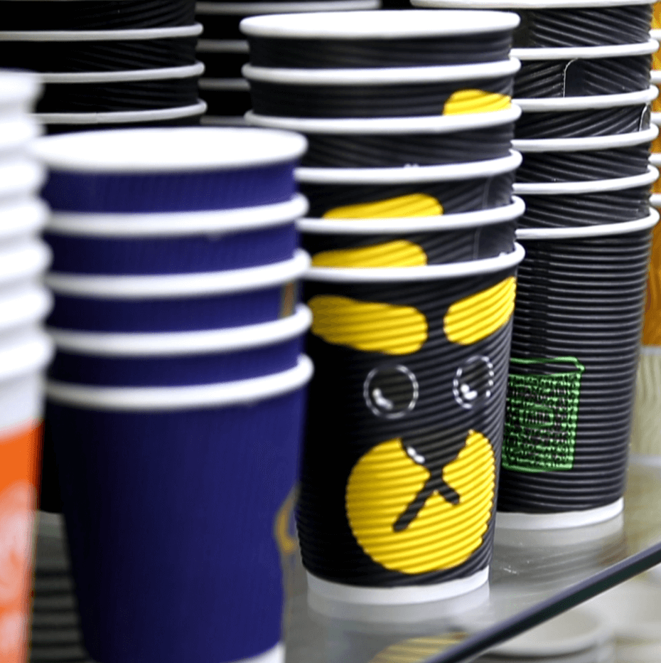- Looking for a fun option to insulate your cups without a sleeve? Look no further than the Ripple Cup! Add your logo or design to a fun, textured paper cup that not only looks unique, but offers your customers plenty of protection from your hot beverages.Our high quality cups are the perfect canvas for your logo or design. With extra protection from the heat, your customers will be able to comfortably enjoy a delicious coffee or tea. Great for restaurants, cafes, and hotels. Also 100% recyclable.