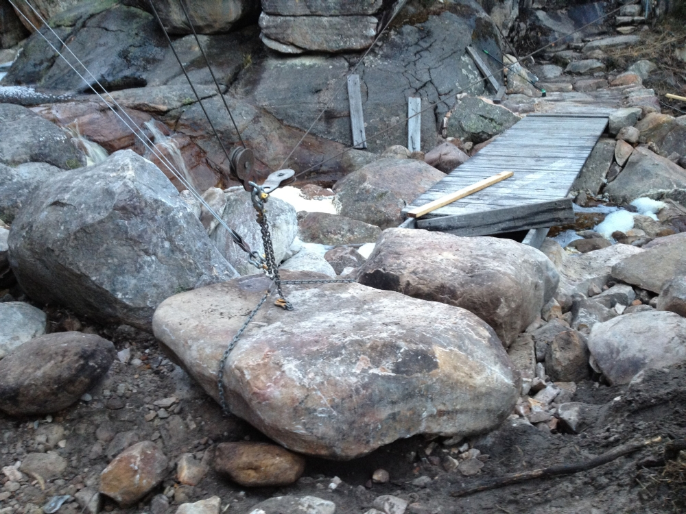 Winching boulders into place