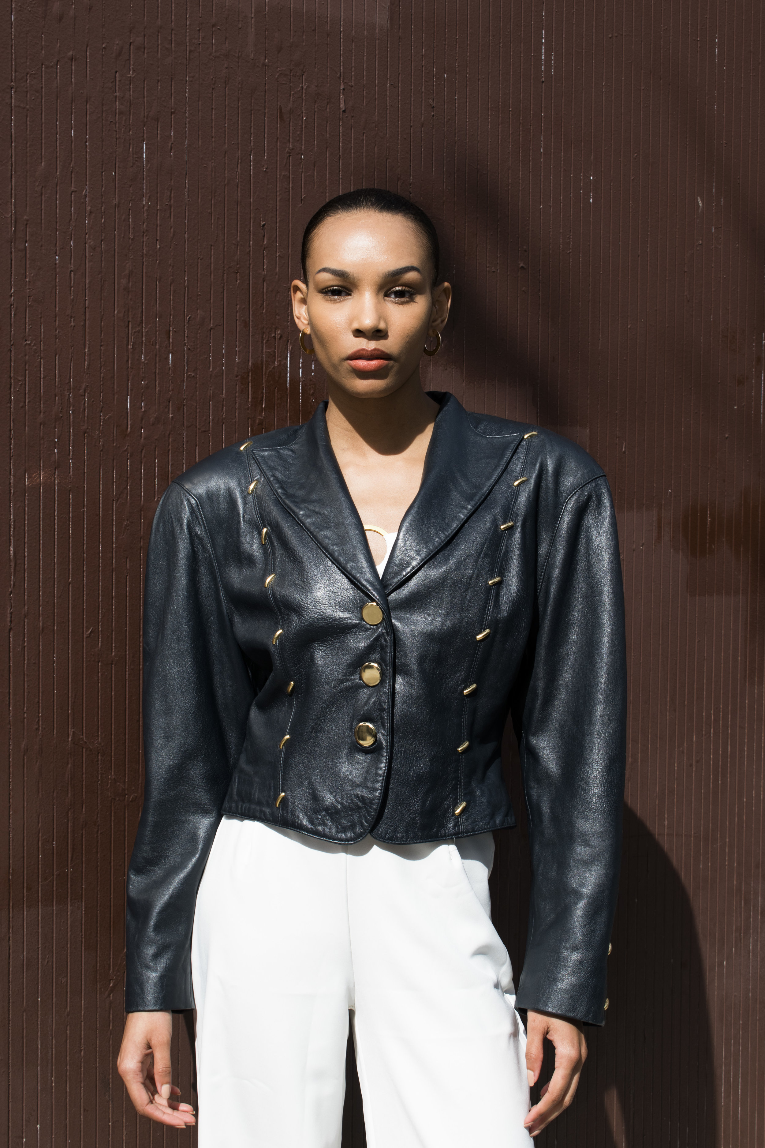 Black vintage studded leather jacket, available now!