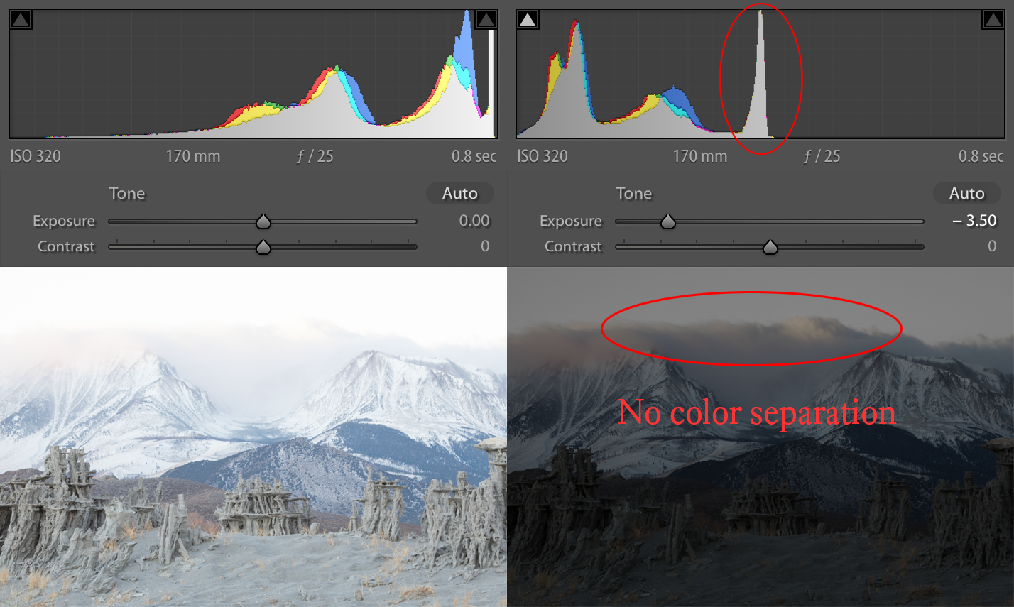 ETTR version shows no color separation when pulling the exposure down.