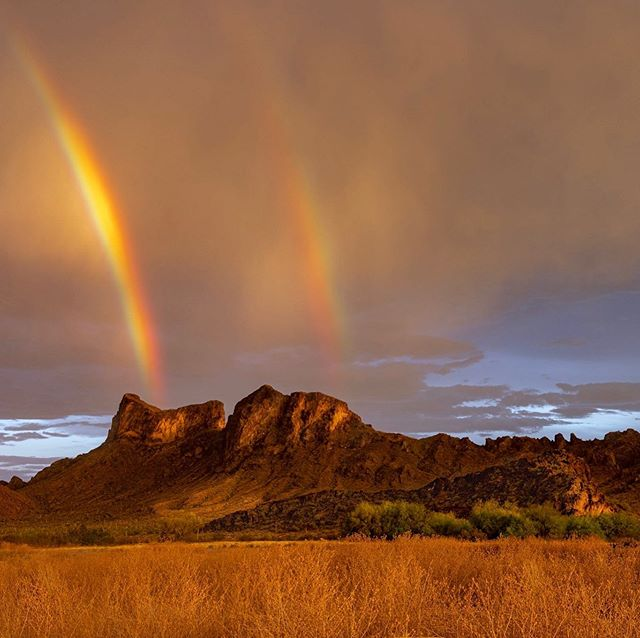 Double rainbow at Sunset. Pichacho State Park in Arizona #rainbow #doublerainbow #sunset #arizona #visitarizona #monsoon #picachopeakstatepark #picachopeak #serendipityvisualsworkshop