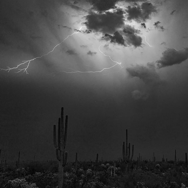 Photographing in the dark the camera sees more than you can. Converting to black and white gives it an eerie feeling. #florenceaz #florencearizona #arizona #monsoon #lightning #blackandwhitephotography #serendipityvisualsworkshop #Lr_weather