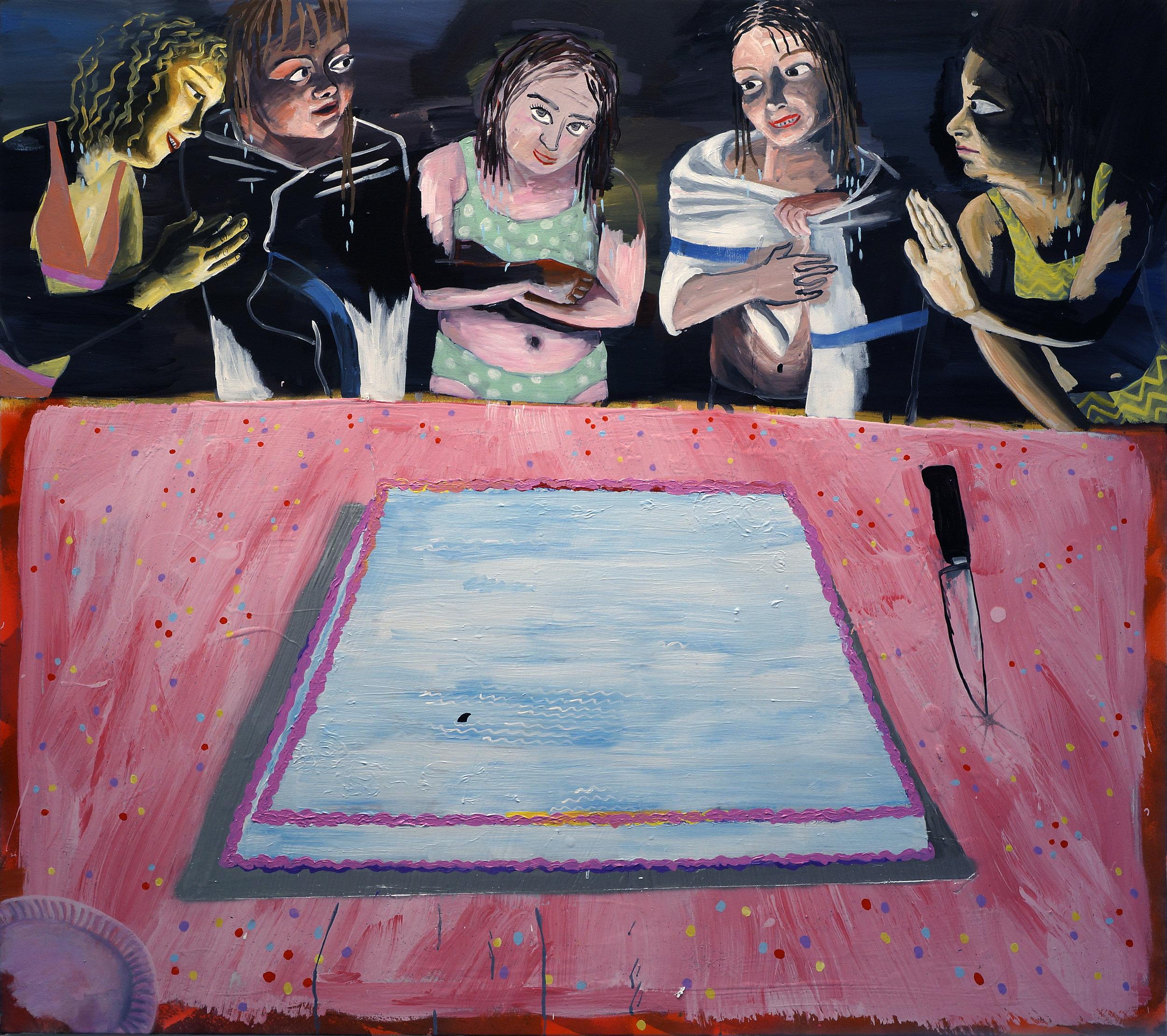 Cate White, Birthday Girls, 50 x 56, acrylic, latex, spray paint, glitter on canvas, 2019