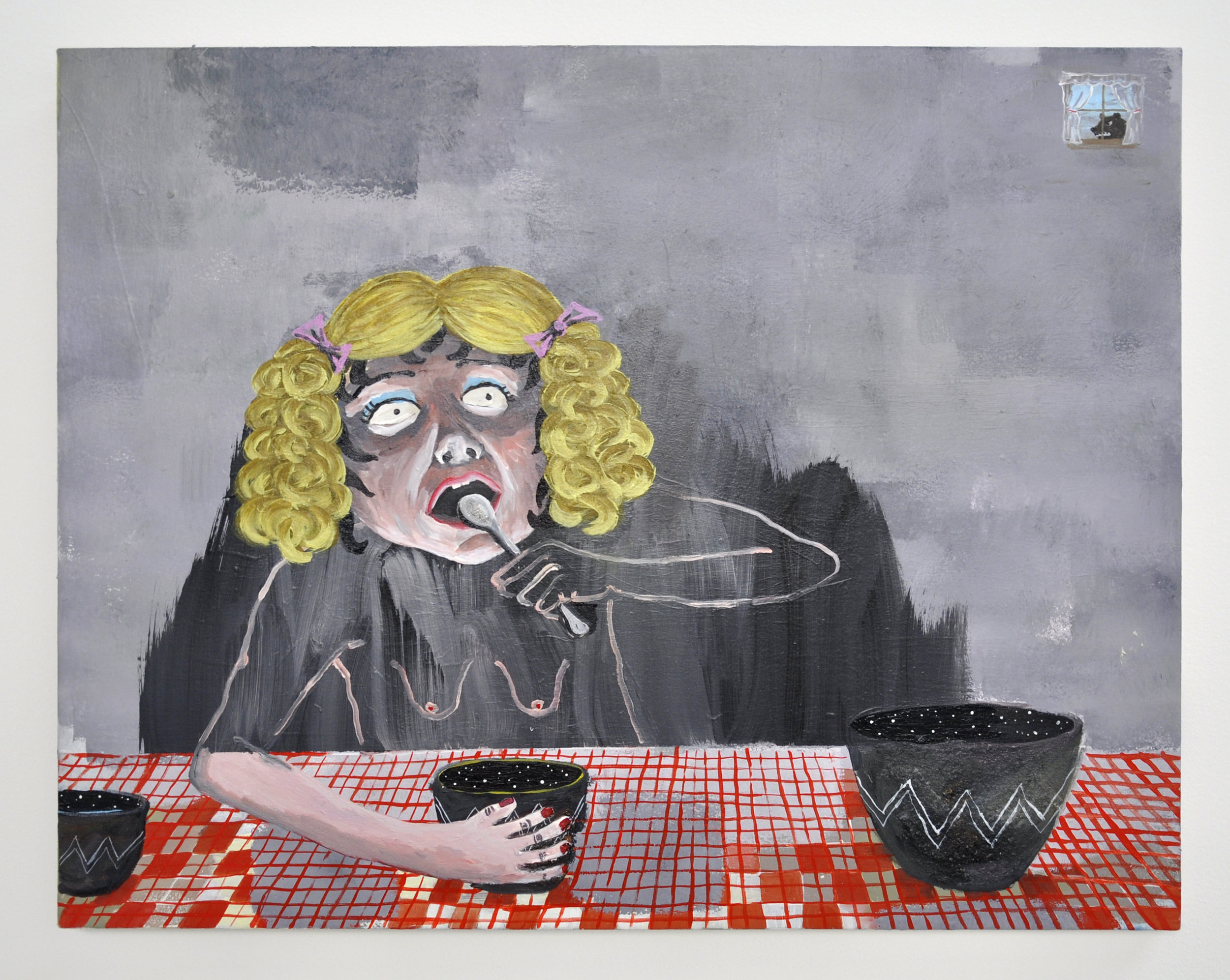 Cate White, Goldilocks, 28 x 36, acrylic, latex, glitter on canvas, 2019