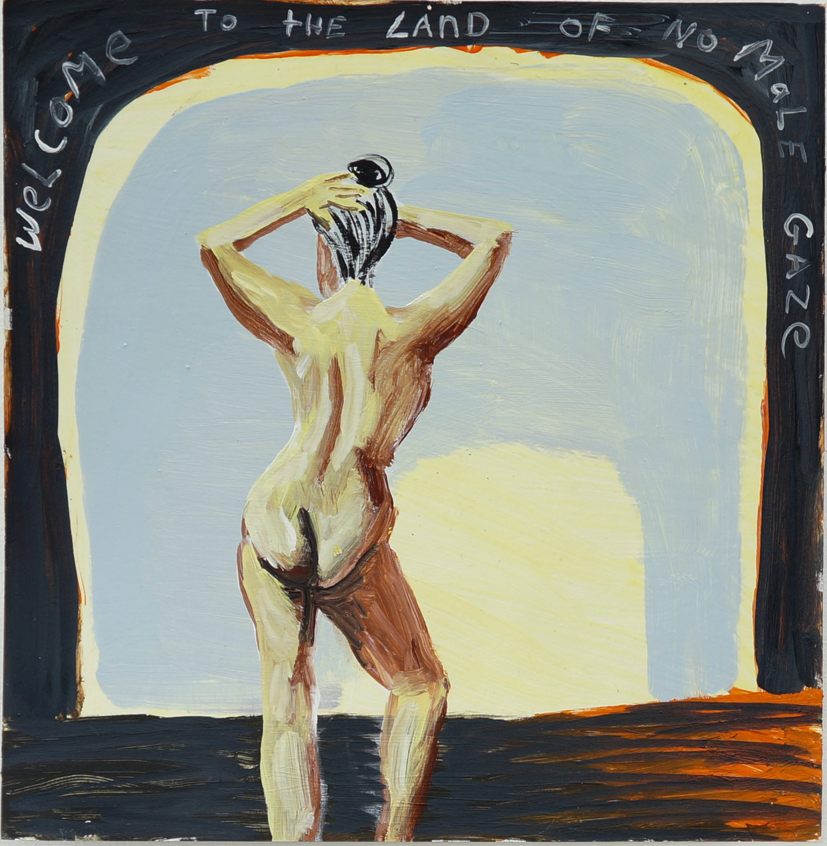 Cate White, The Land of No Male Gaze, 12 x 12, acrylic, latex, on paper, 2018