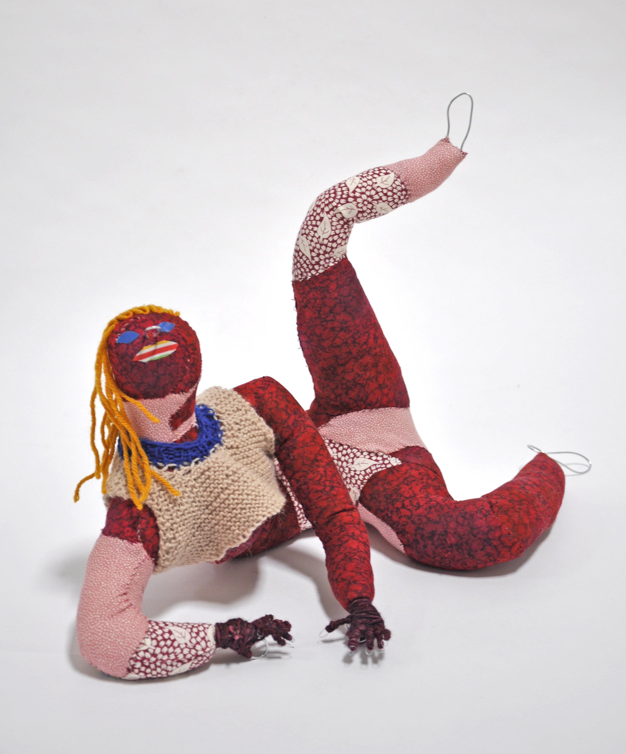 "Maria Guzmán Capron, ""Cereza"", 2018, Wire, Batting, Fabric, Thread, Yarn, 12 x 13 x 14in"