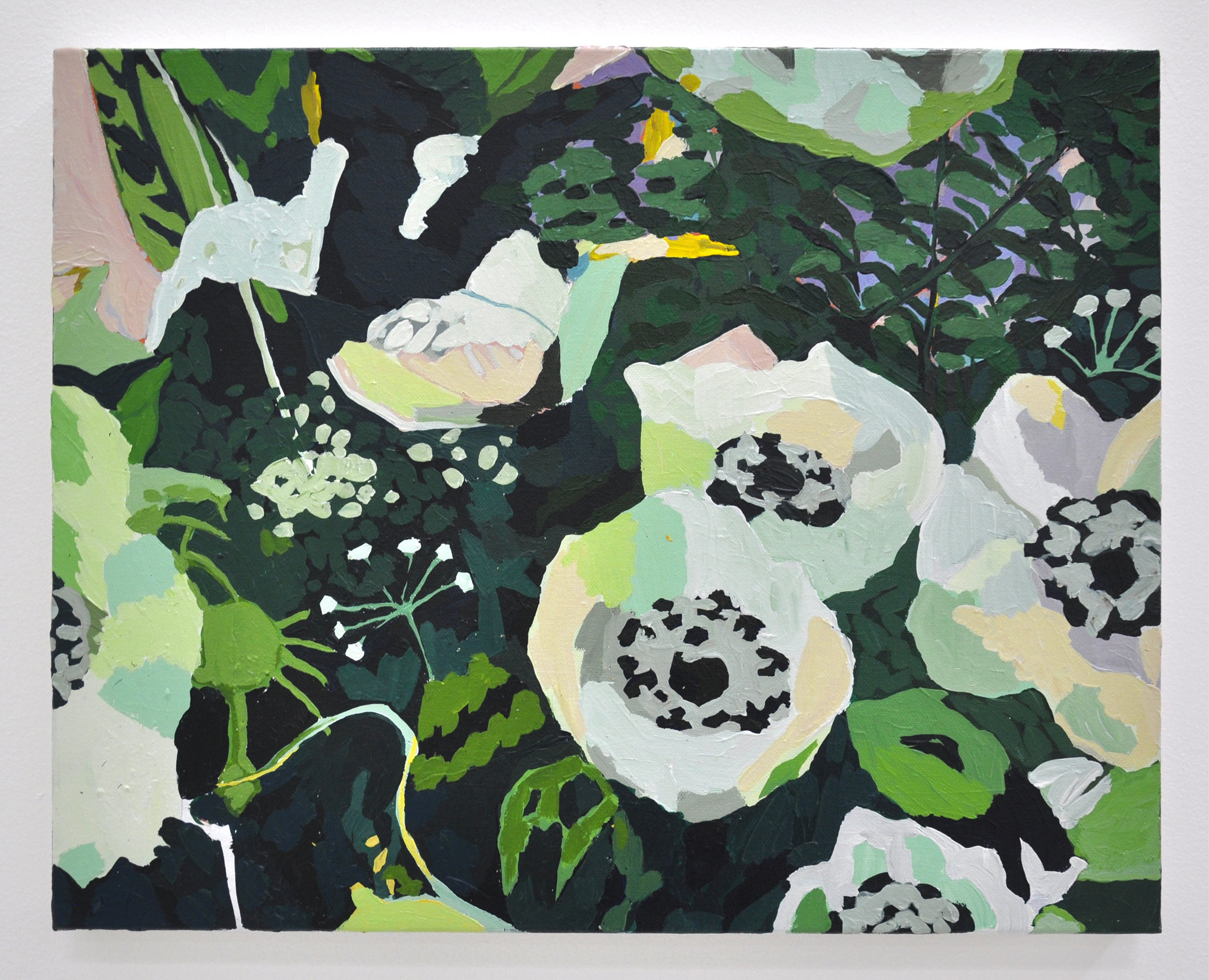 "Hilary Pecis, ""White Anemones"", 2018, Acrylic on Canvas, 16 x 20in"