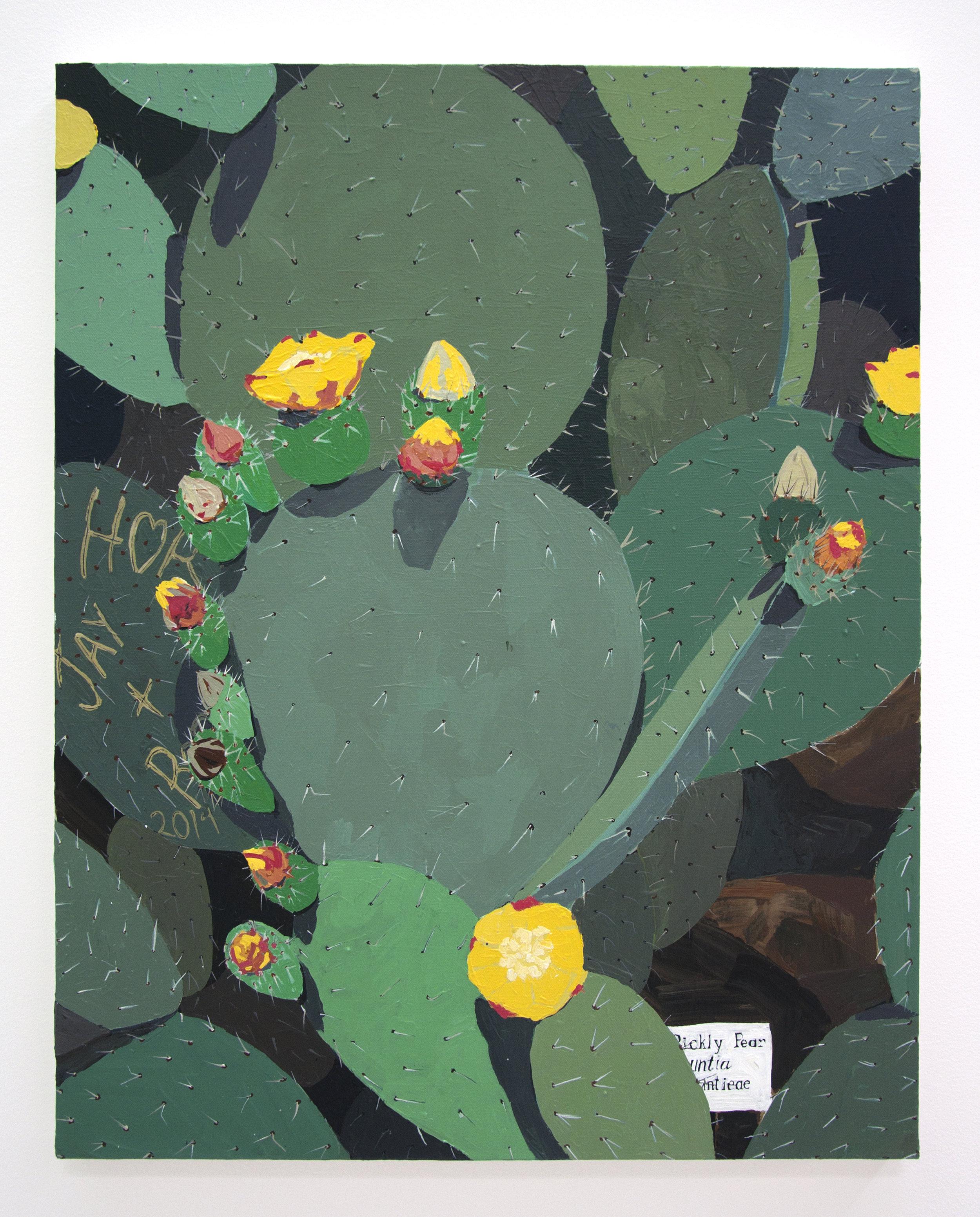 """Graffiti Cactus"", 2018, Acrylic on Canvas, 28 x 22in"