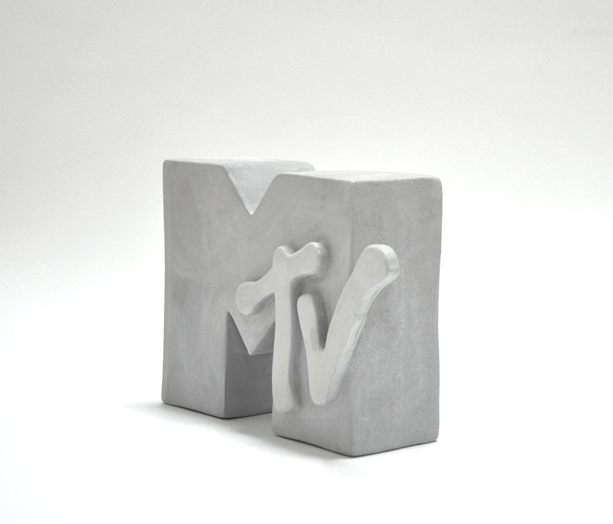 MTV Protoype, Circa 1990, Unfired Clay, 7 x 10 x 3″, 2016
