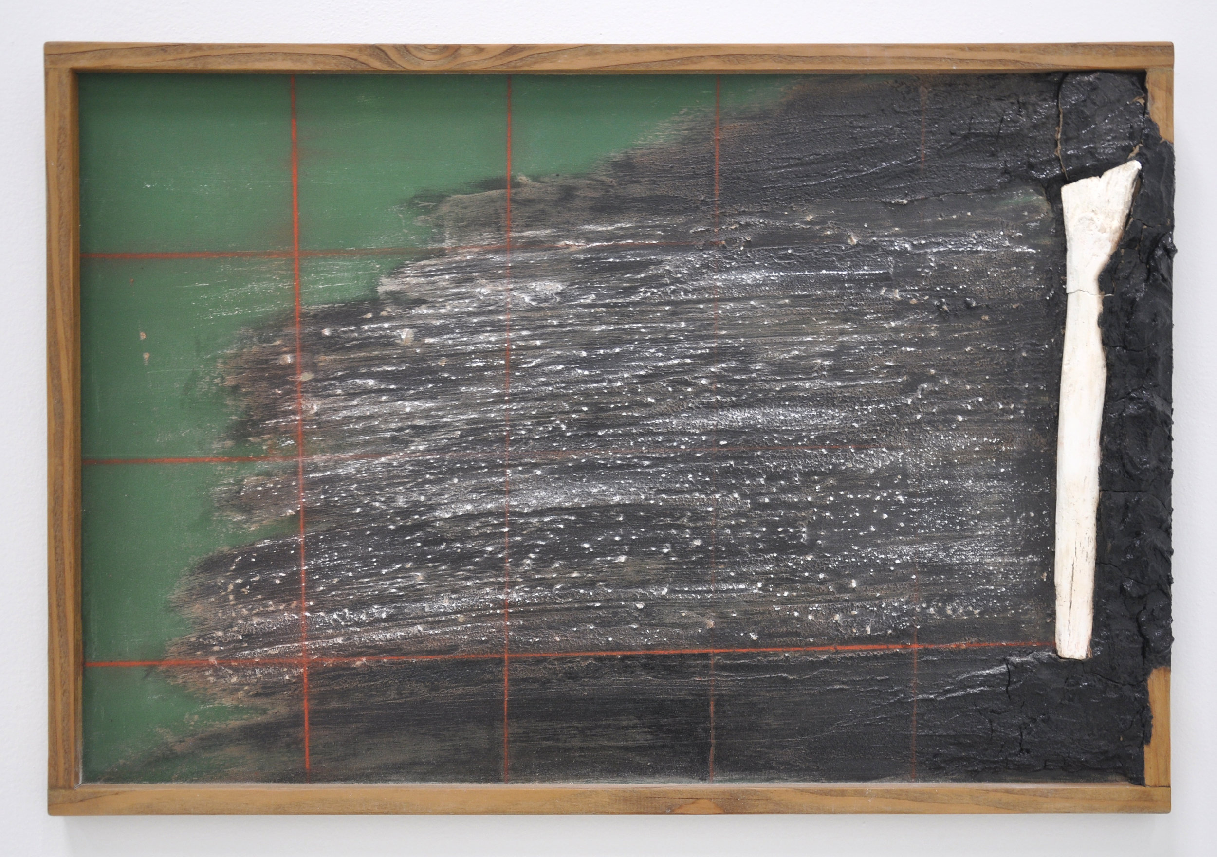 Ariel Rene Jackson, Untitled, Panel, Wood, Chalk, Soil, Chalkboard Paint, Red Line Chalk, 14 x 3 x 24in