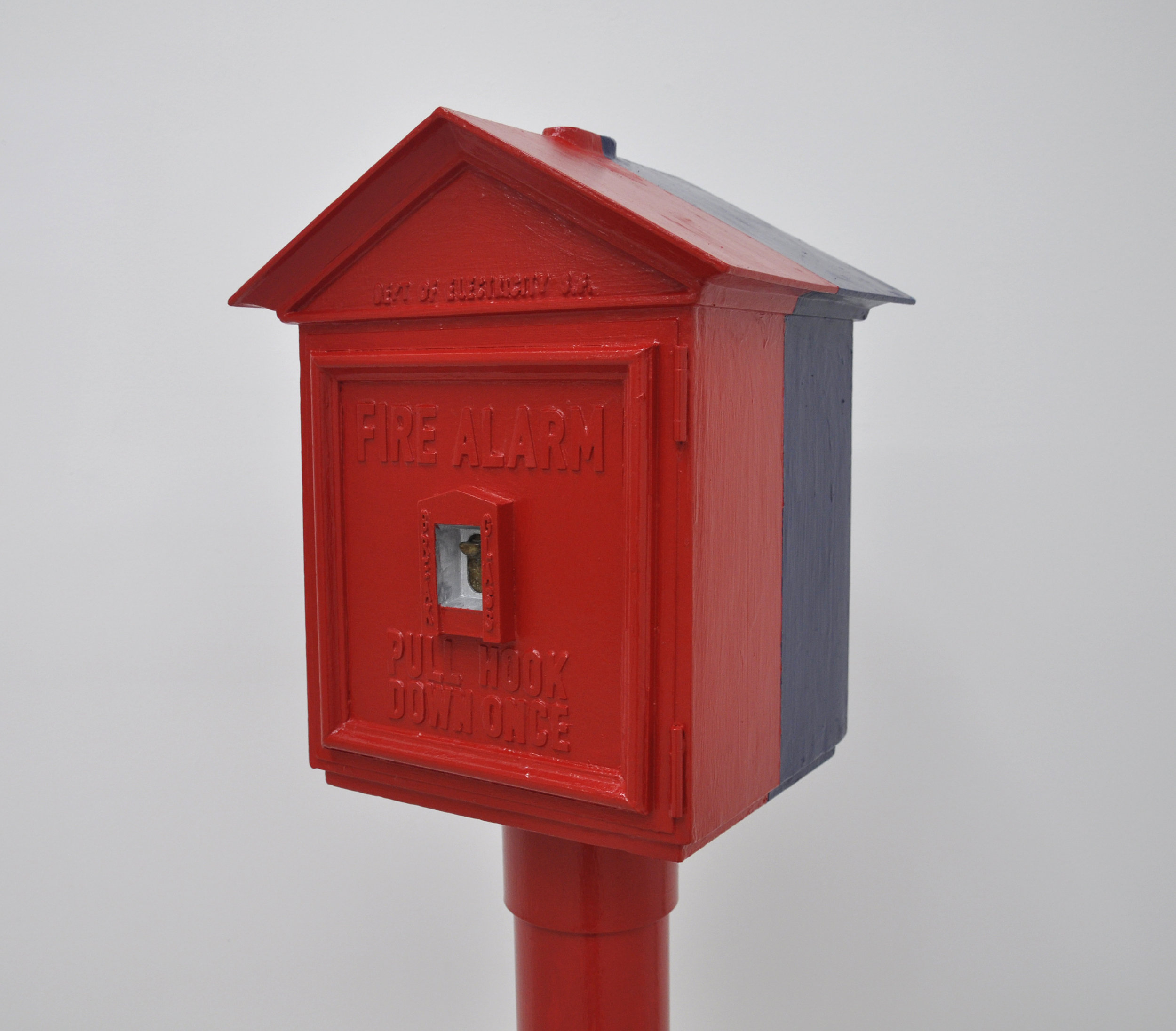 Malcolm Kenter, Fire / Police Box, 2019, Enamel on Wood, Foam, Plastic, Cement, Chewing Gum, 62.5 x 24.5 x 27in