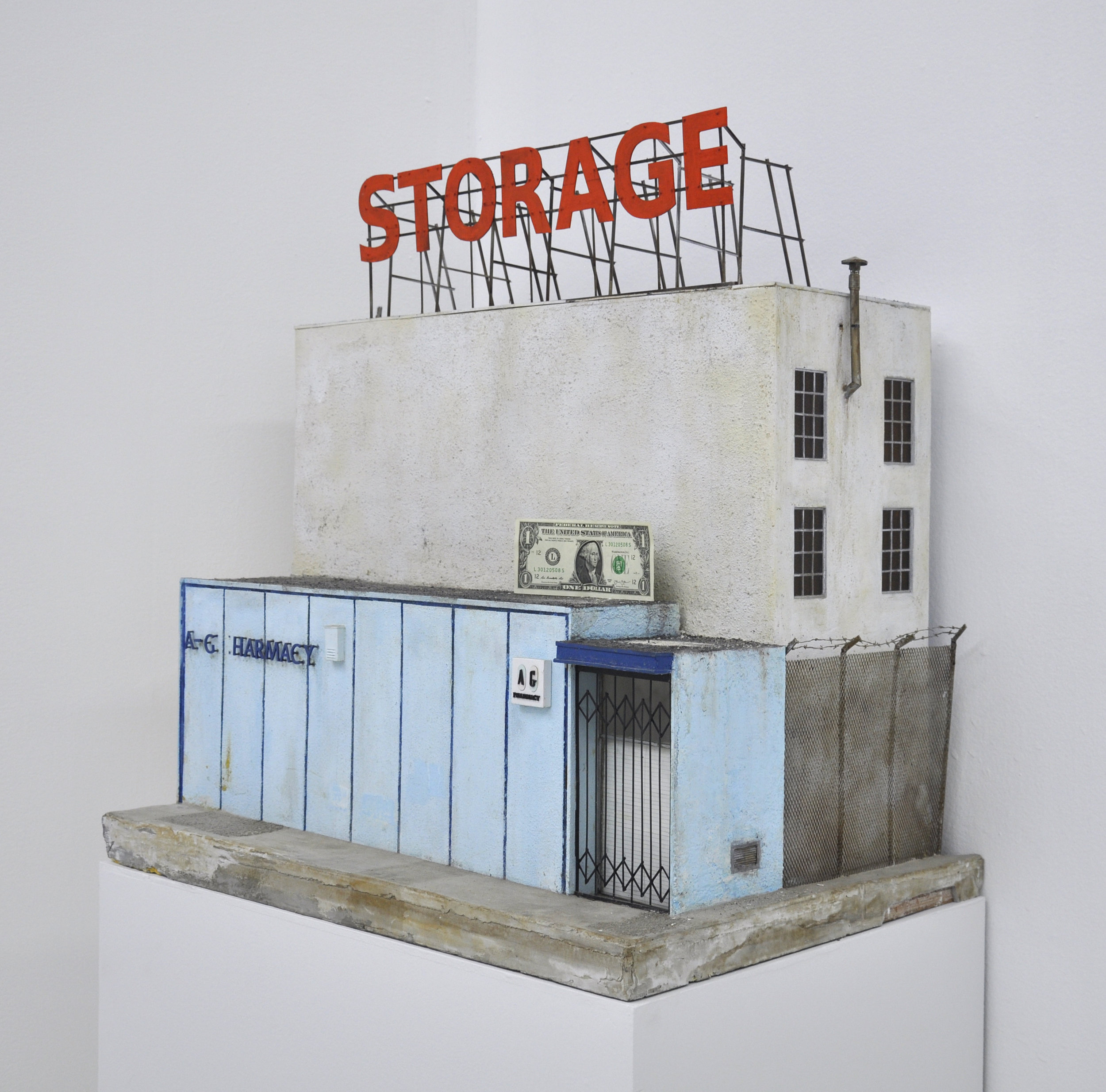 Malcolm Kenter, AG Pharmacy / Storage, 2017, Enamel and Latex on Wood, Cement, Metal, Glass, Plastic, Sand, 27.5 x 18.5 x 27in