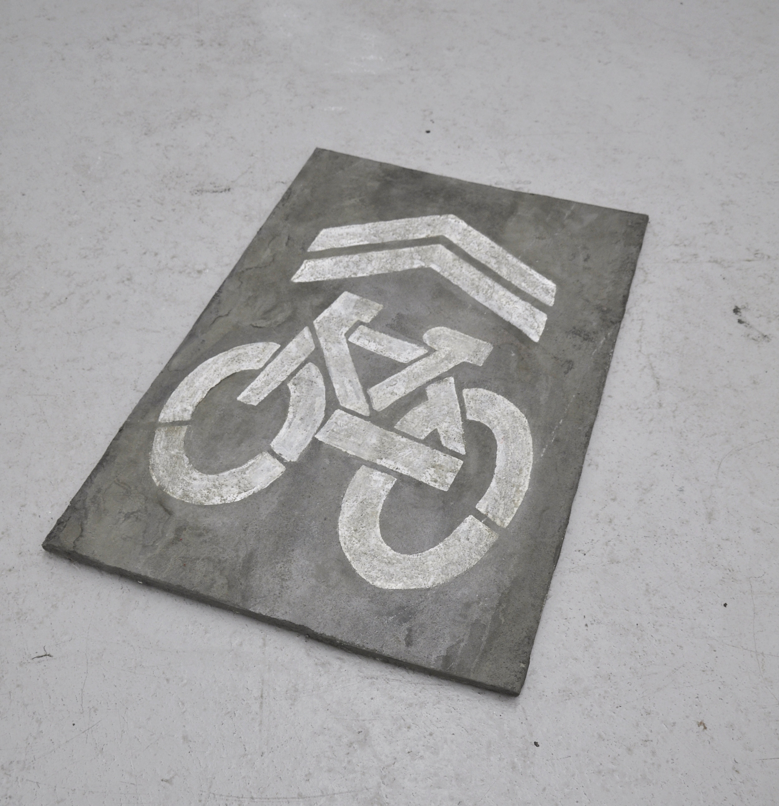 Malcolm Kenter, Bike Lane, 2018, Enamel on Concrete, Wood, 32 x 50.5 x 1 in