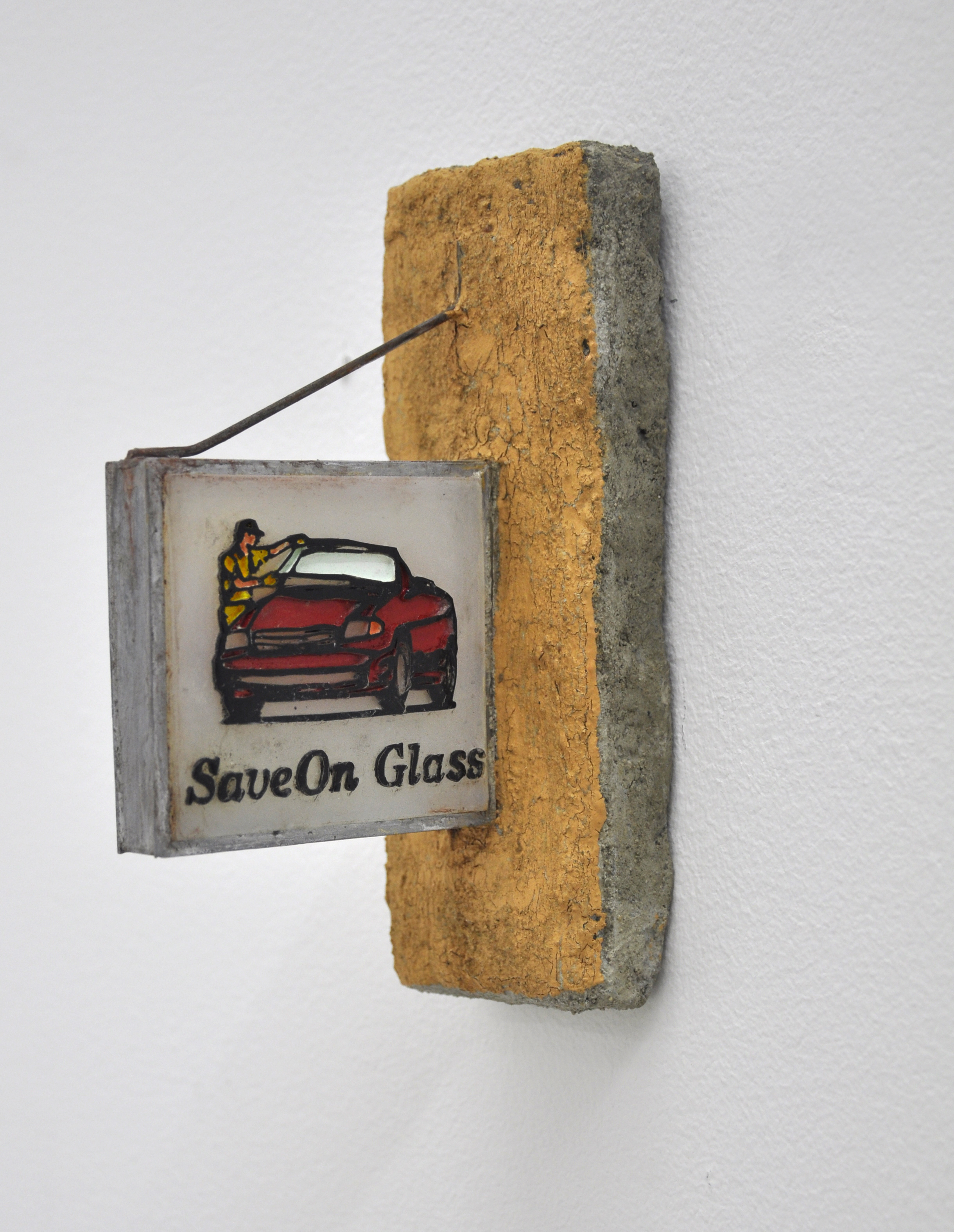 Malcolm Kenter, Save On Glass, 2019, Enamel on Plastic, Metal and Concrete, 7 x 2.5 x 5in