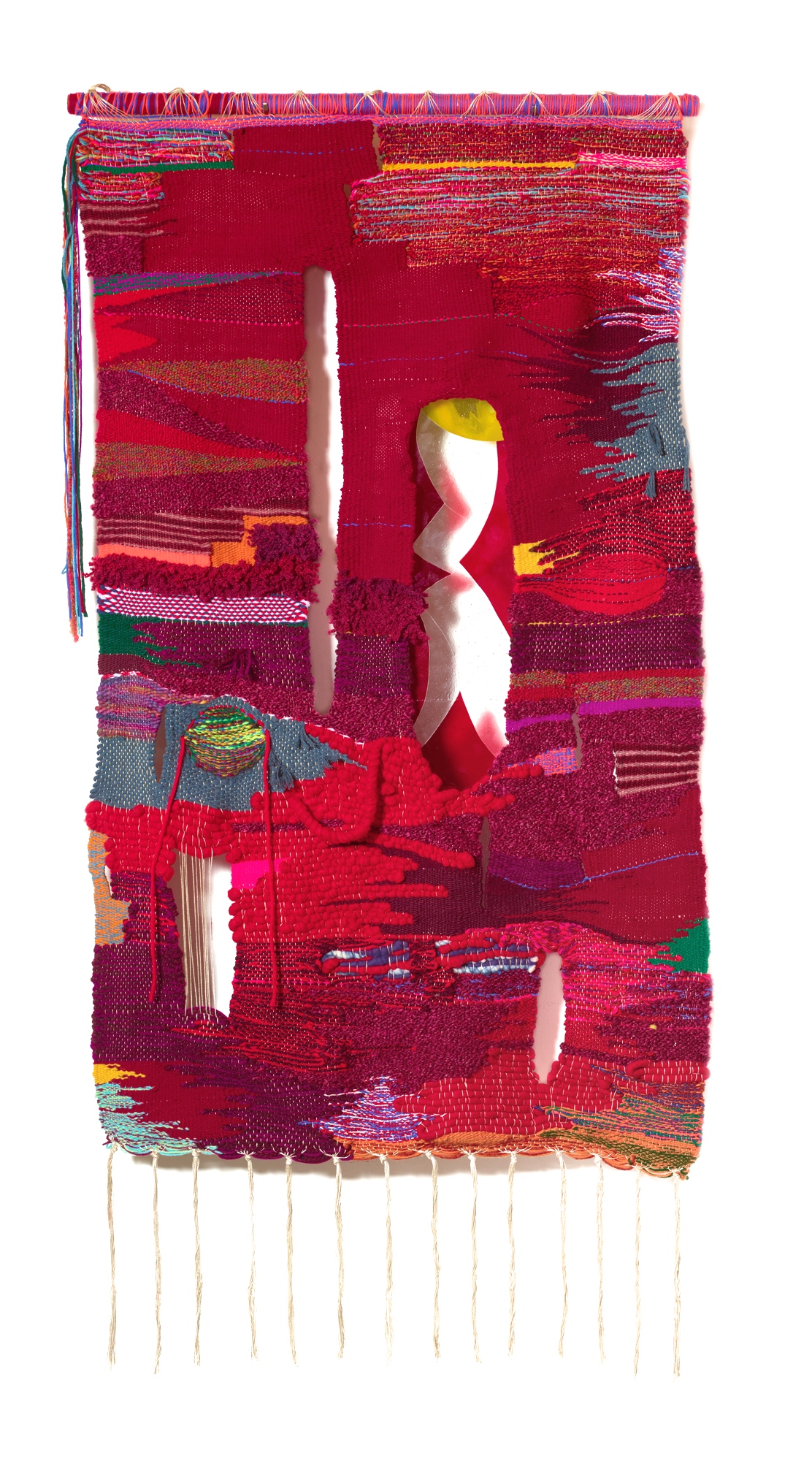 Fermented, 2019, 40 x 76 in, wool, cotton, acrylic, metallic fibers, fused glass