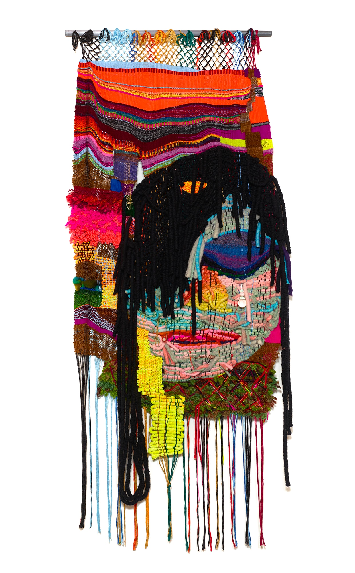 Hard & Weird & Sad, 2016, 90 x 37 in, acrylic and wool fibers, blown glass tear