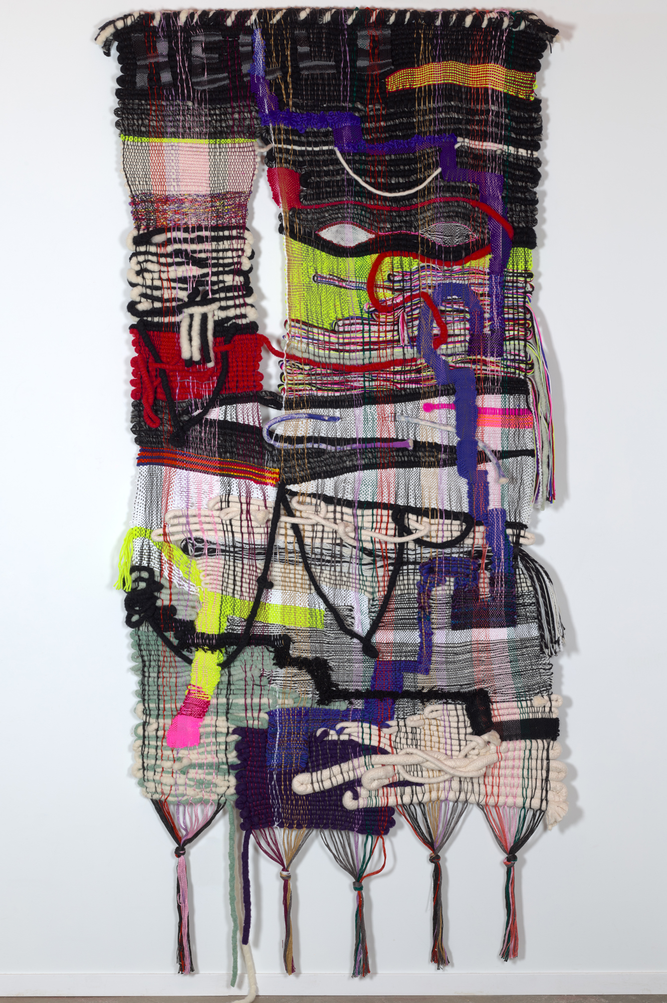 Hello Uncertainty, 2018, 96 x 42 in, wool, cotton, acrylic fibers