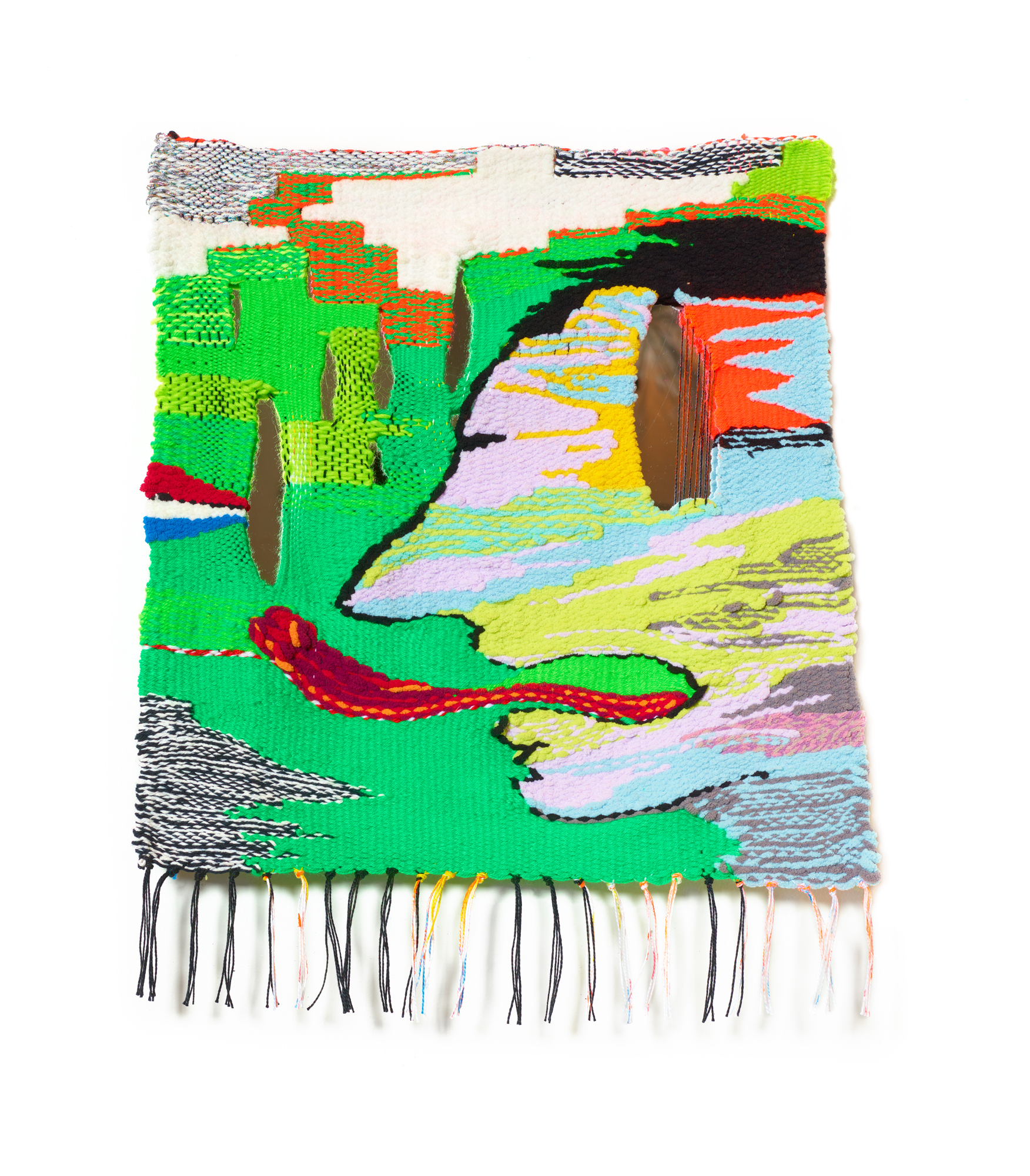 Licking the Rain, 2019, 19 x 26 in, Acrylic, cotton, wool, polyester fibers