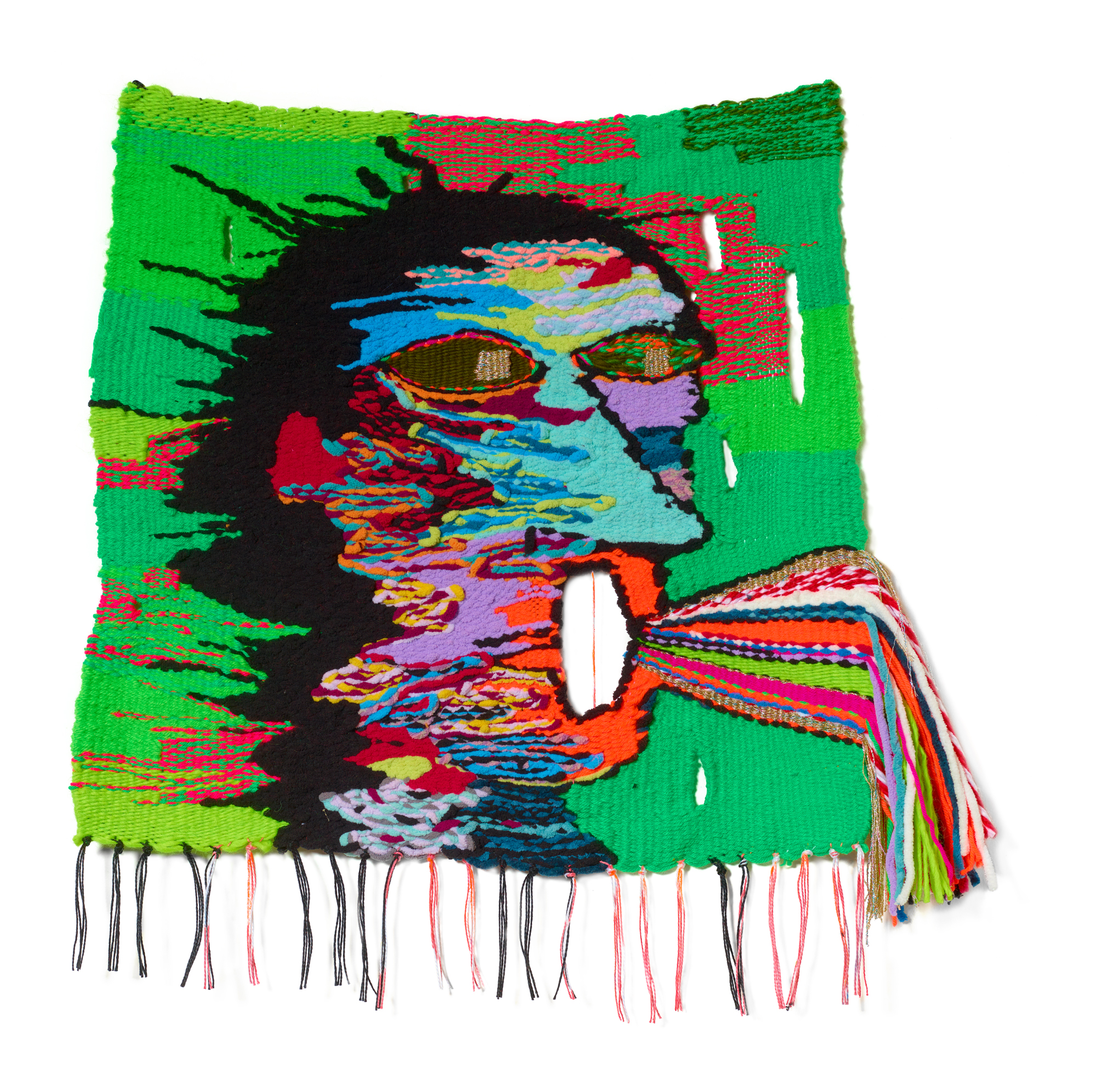 Singing off key, 2019, 25 x 19 in, wool, cotton, acrylic, polyester, metallic fibers