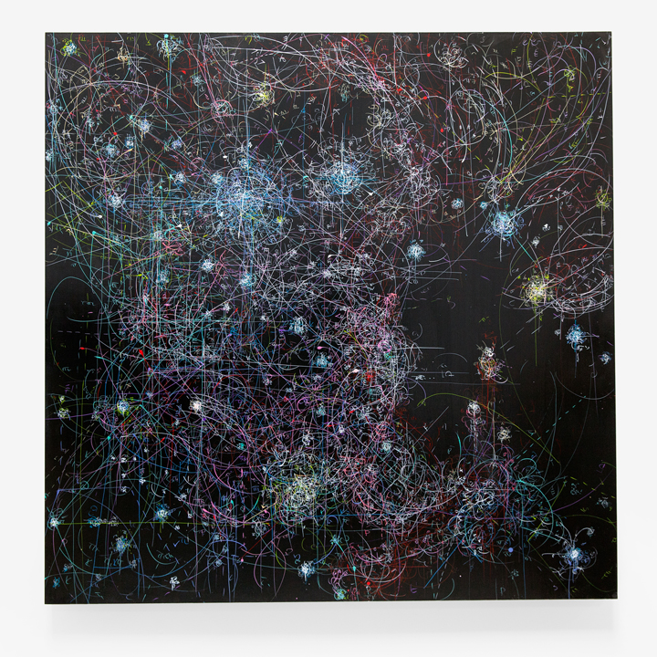 "Kysa Johnson, ""blow up 256 - the long goodbye (hello, hello) - subatomic decay patterns, R108 and massive young stars,"" 48 x 48 in, 2015"