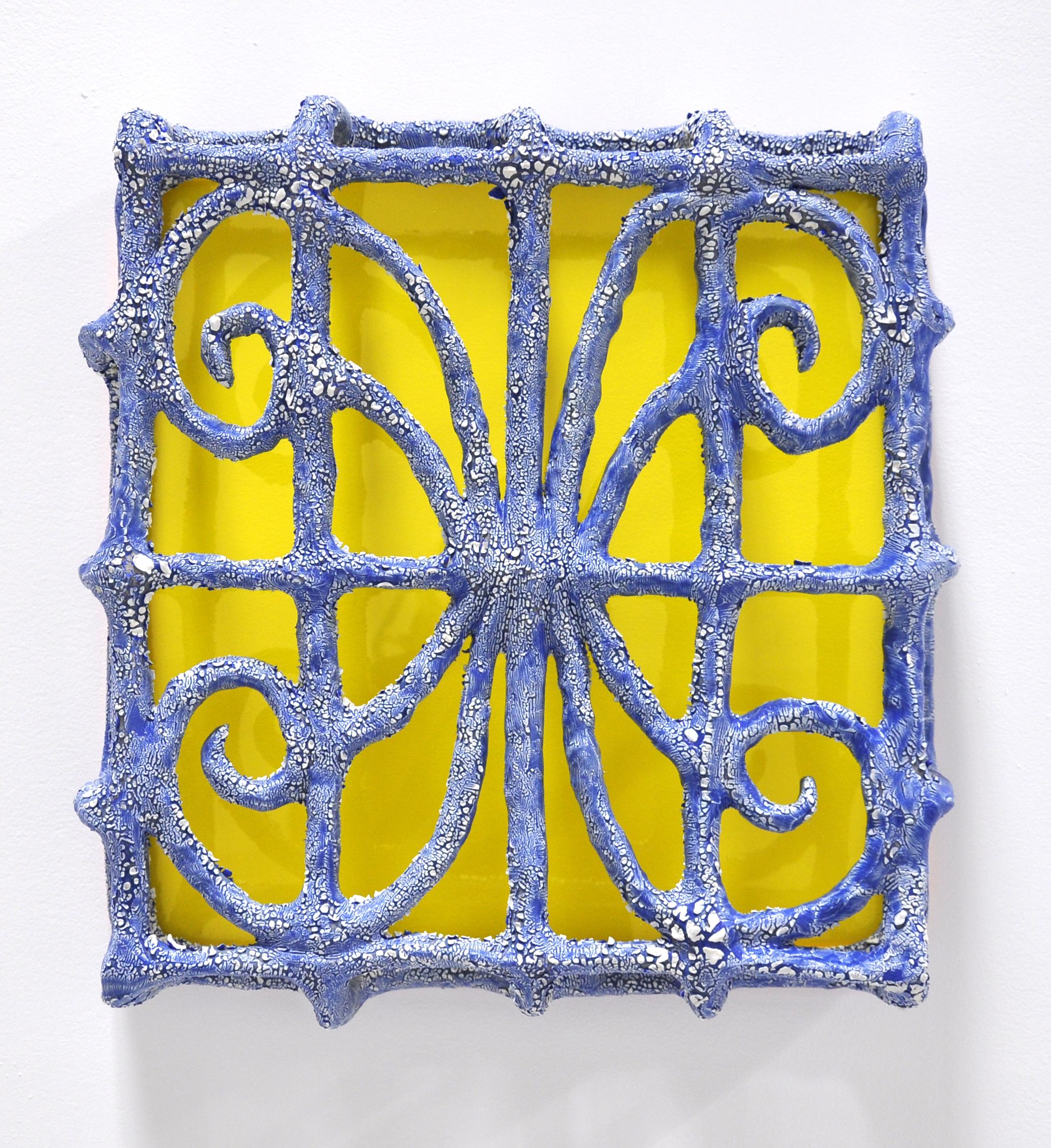 Nick Makanna, Isolationism I, 2019, Glazed ceramic and plexiglass, 20 x 5 x 19 in, $2000
