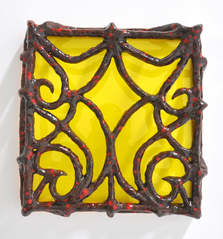Nick Makanna, Isolationism IV, 2019, Glazed ceramic and plexiglass, 19.5 x 4.5 x 18.5 in, $2000