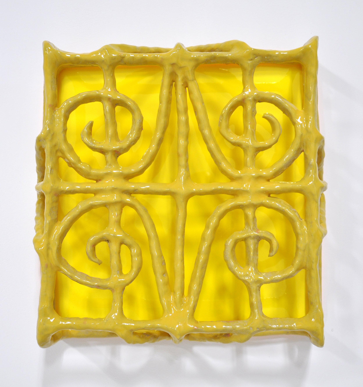 Nick Makanna, Isolationism VIII, 2019, Glazed ceramic and plexiglass, 18.5 x 5 x 19 in, $2000