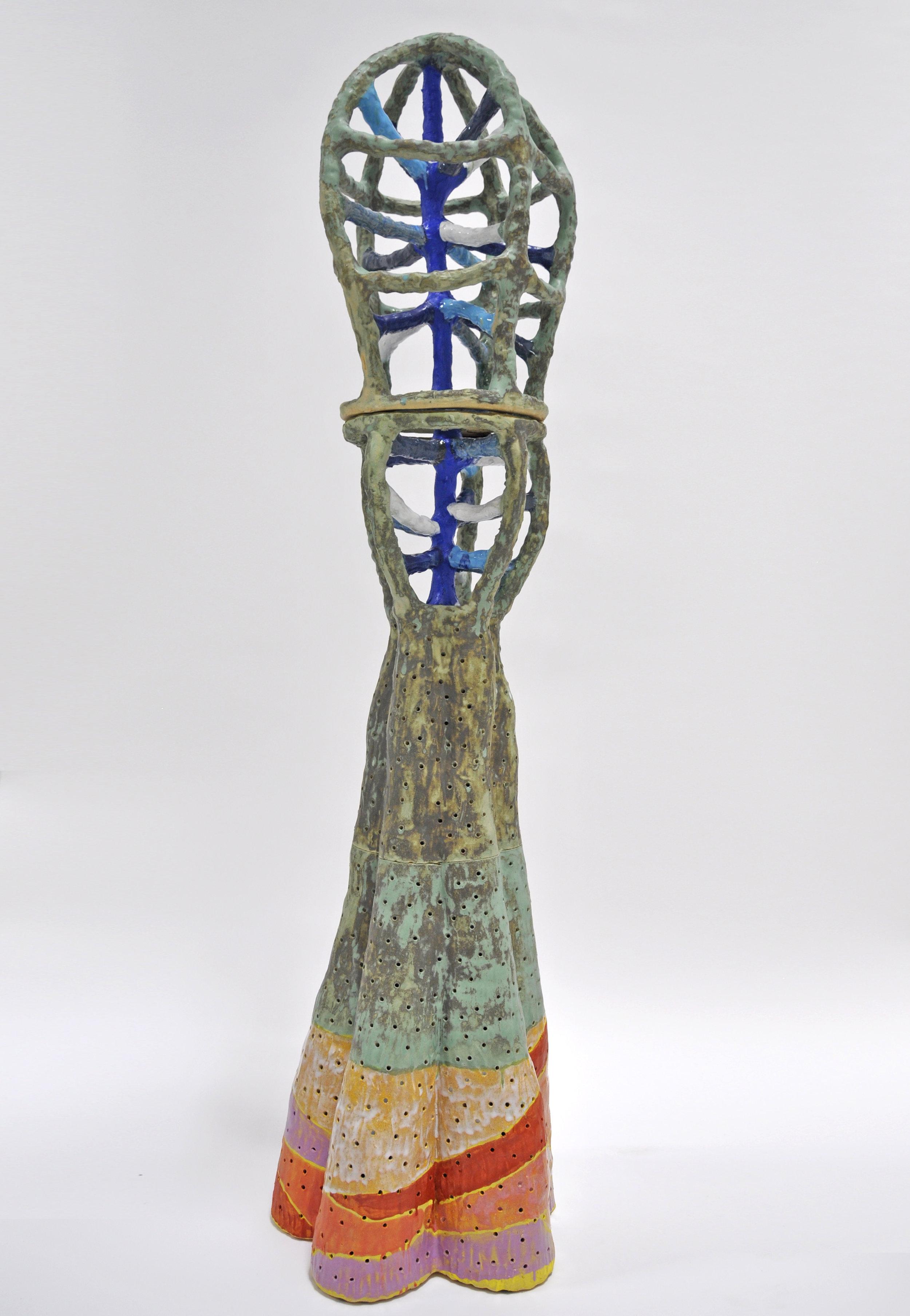 Nick Makanna, RUNE XXXI, 69 x 16 x 16 in, Glazed ceramic, 2019