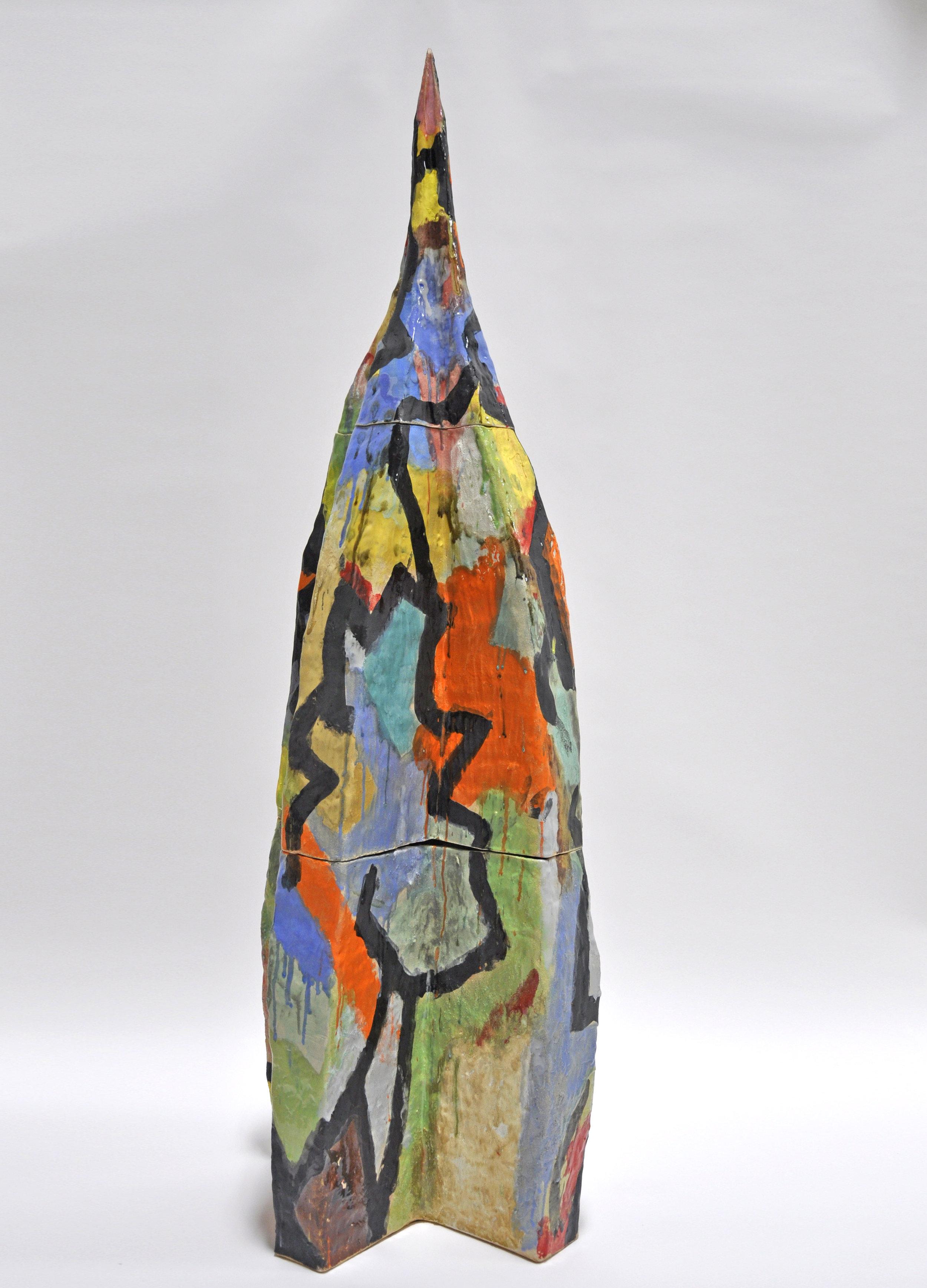 Nick Makanna, XXXIV, 69.5 x 25 x 25 in, Glazed ceramic and plexiglass, 2019