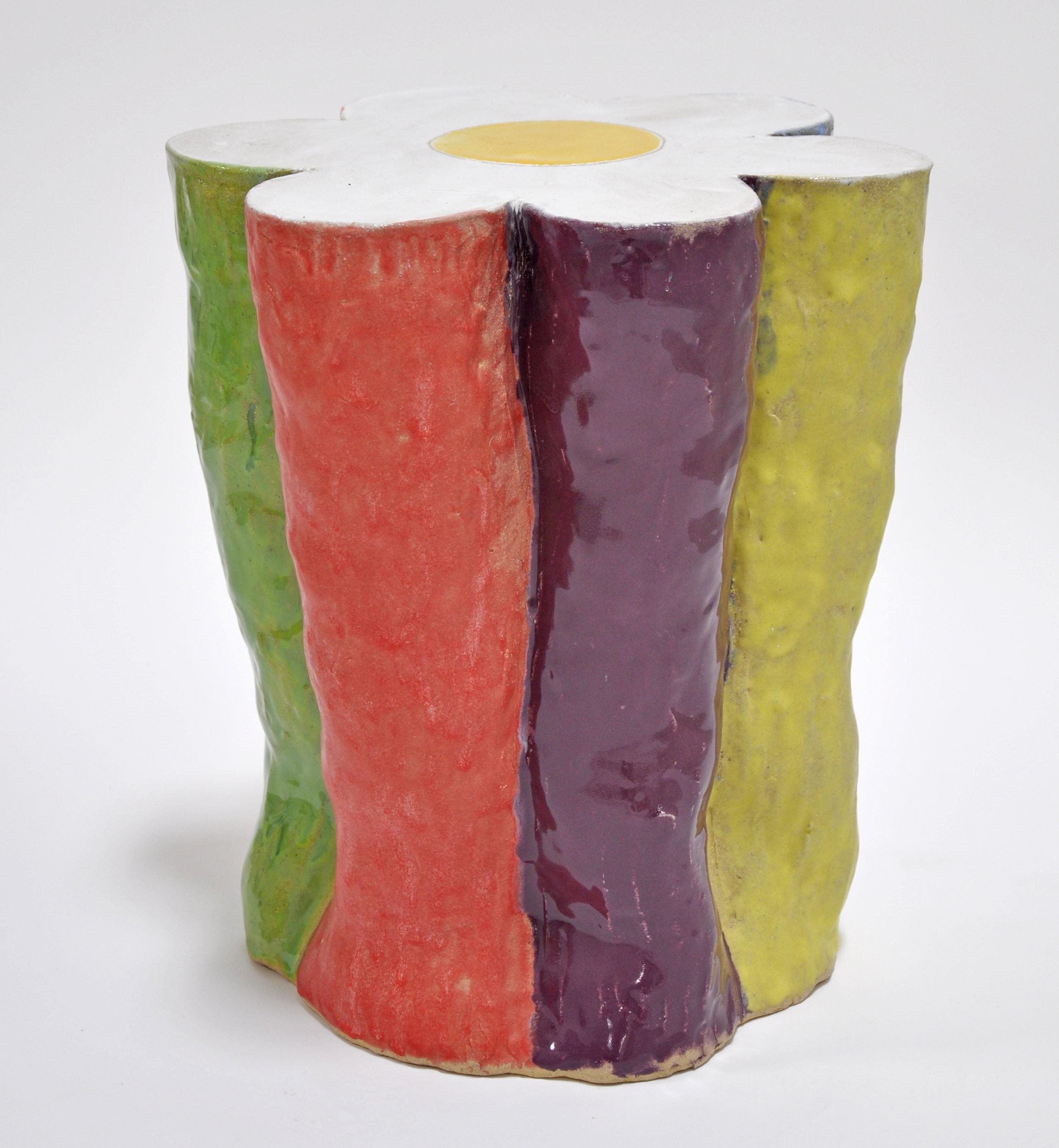 Nick Makanna, Flower Stool II, 18 x 16 x 15 in, Glazed ceramic, 2019