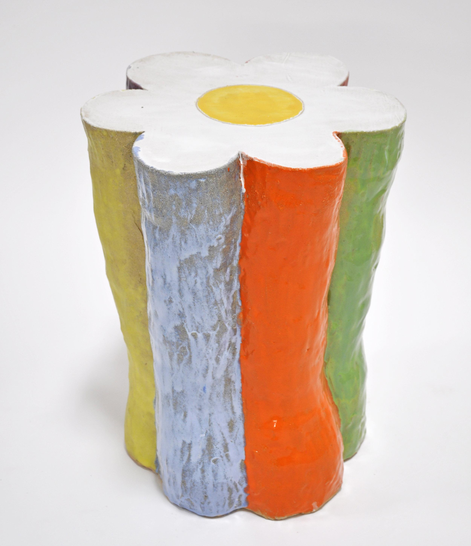 Nick Makanna, Flower Stool I, 18 x 26 x 25 in, Glazed ceramic, 2019