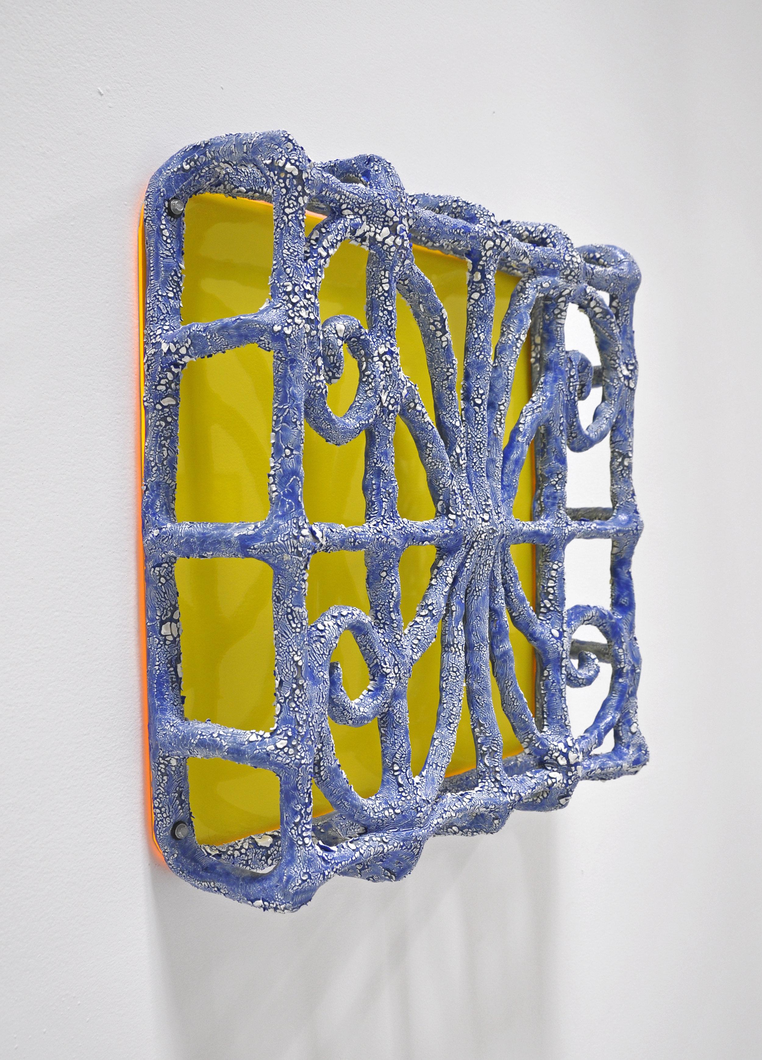 """""""ISOLATIONISM I"""", Glazed ceramic and plexiglass, 20 x 5 x 19 in, 2019"""