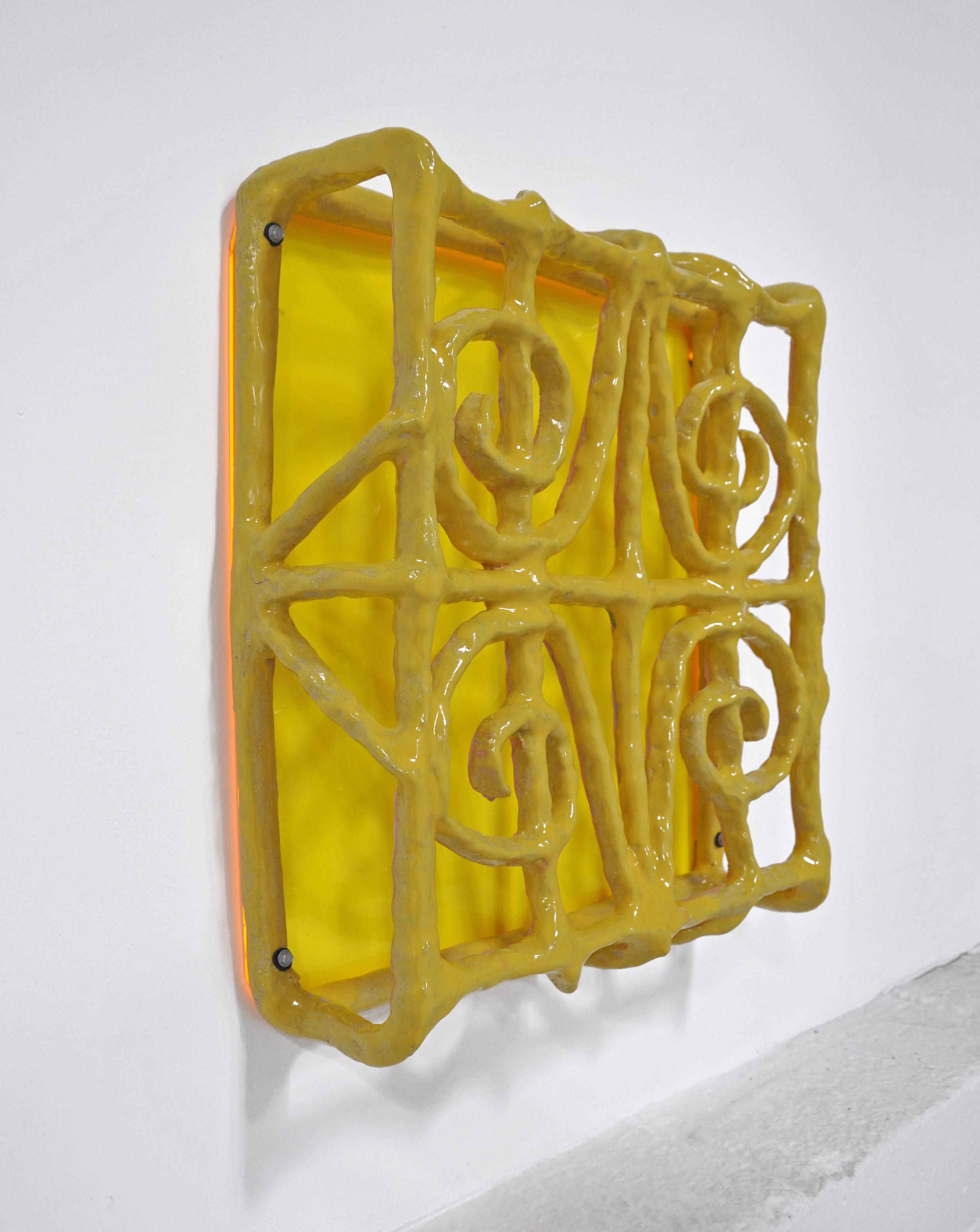 """""""ISOLATIONISM VIII"""", Glazed ceramic and plexiglass, 18.5 x 5 x 19 in, 2019"""