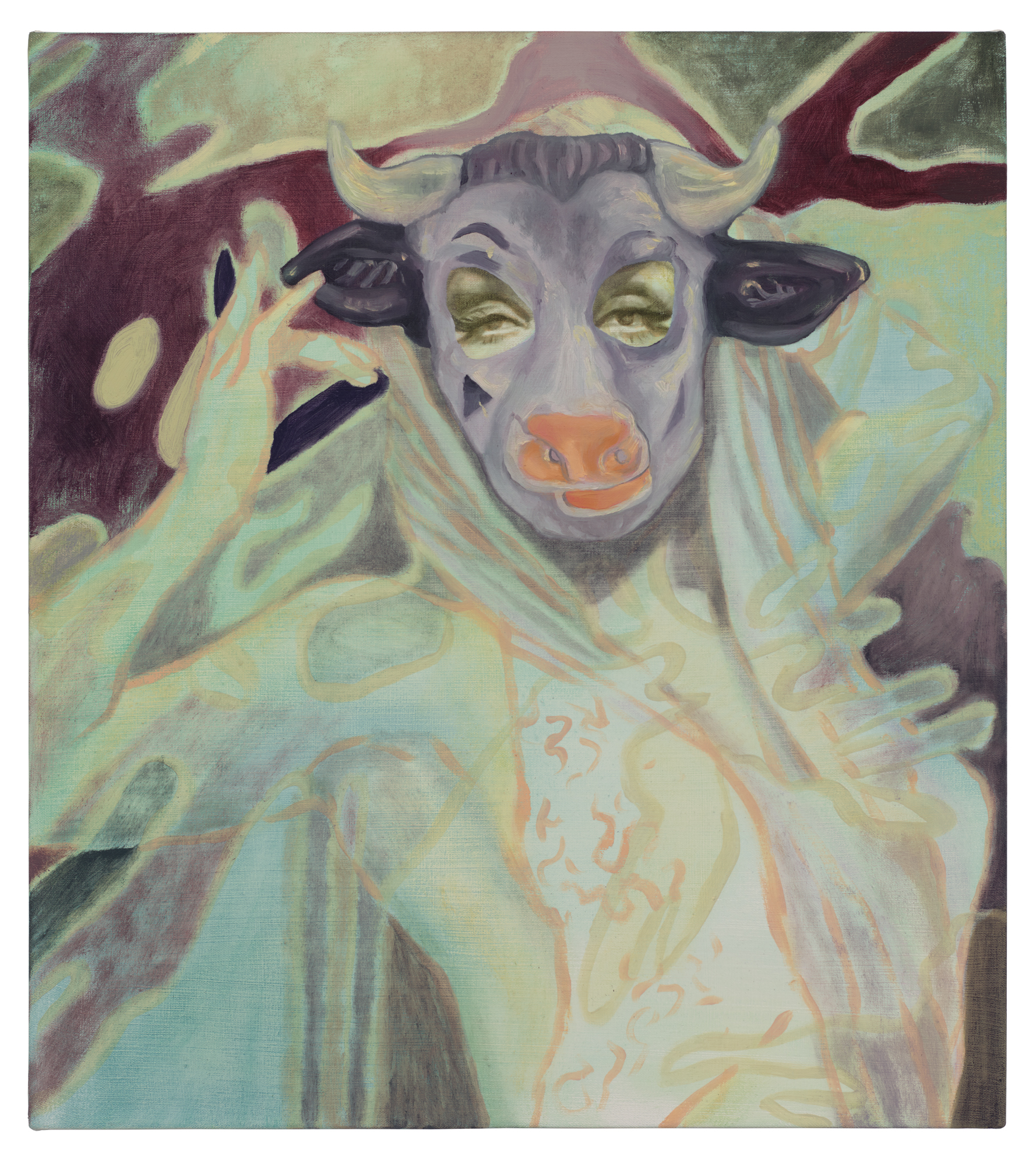 "Katie Dorame, ""Lupe as Purple Bull"", oil and acrylic on canvas, 18 x 16 in, 2018"