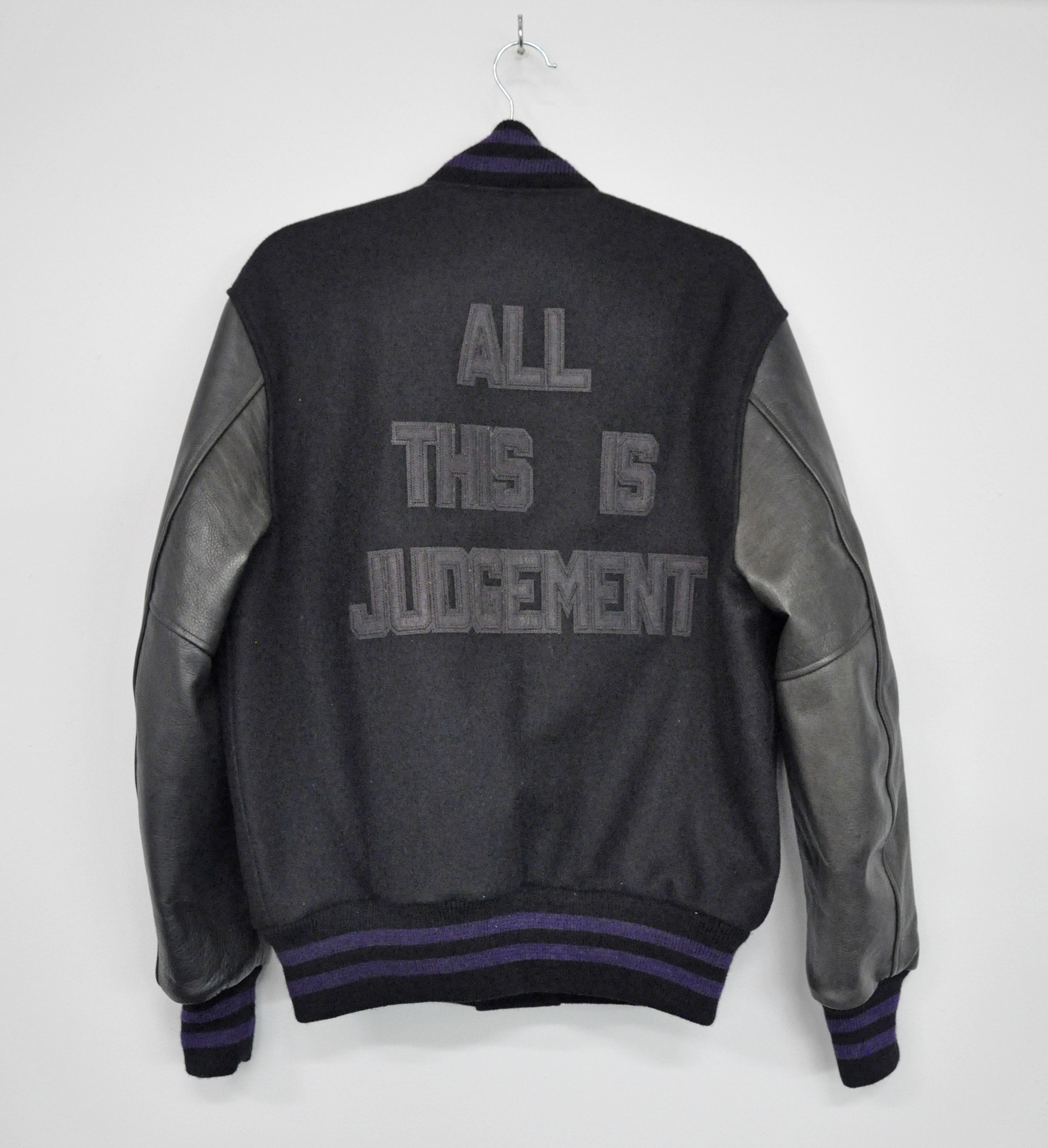 "Cheryl Pope, ""ALL THIS IS JUDGEMENT"" from ""I'VE BEEN HEARD"", in collaboration with NYC Youth on Streetball (Jacket), artist-designed letterman jacket, AP 1/2, 2017"