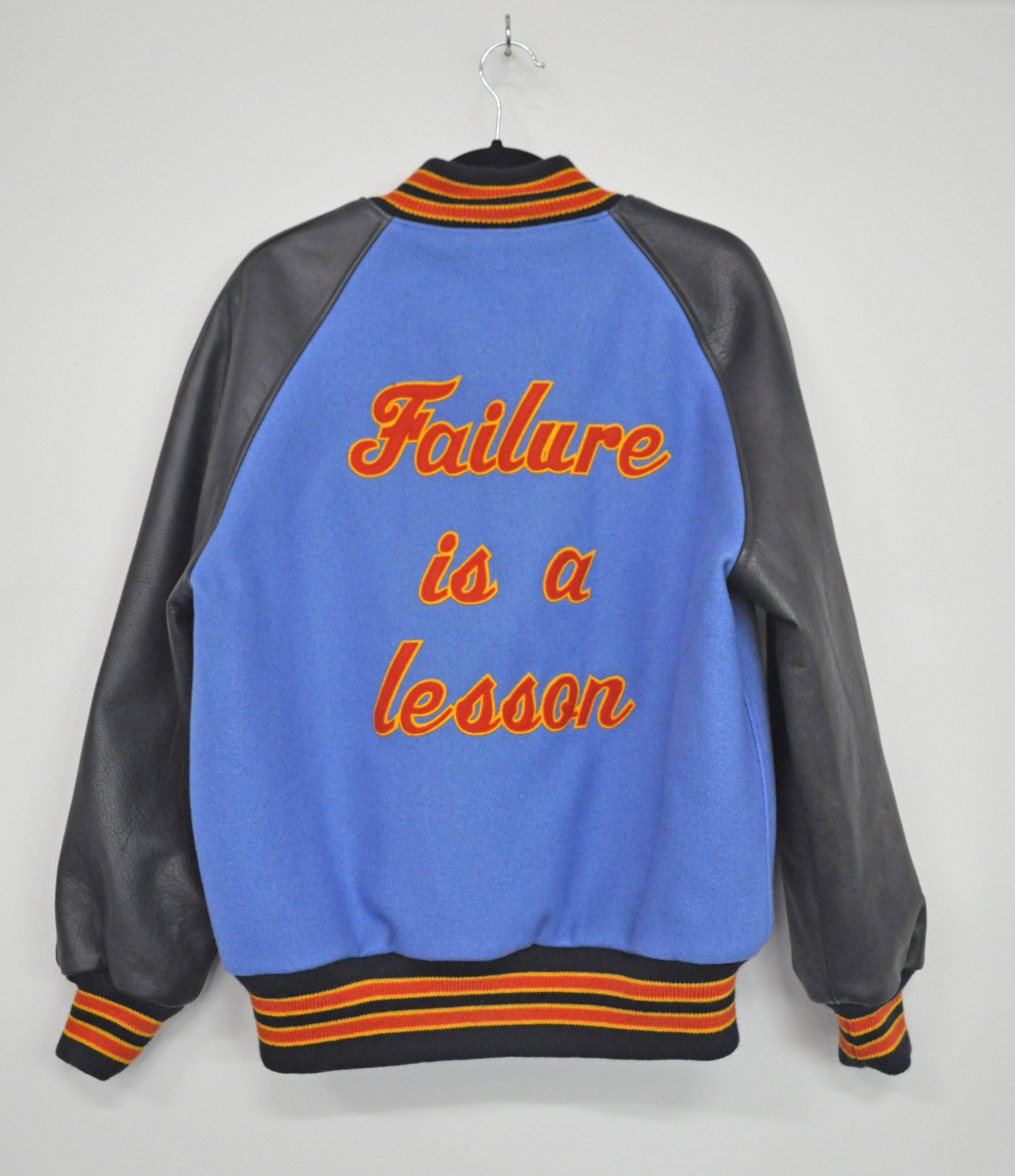"Cheryl Pope, ""FAILURE IS A LESSON"" from ""I'VE BEEN HEARD"", in collaboration with NYC Youth on Streetball (jacket), artist-designed letterman jacket, AP 1/2, 2017"