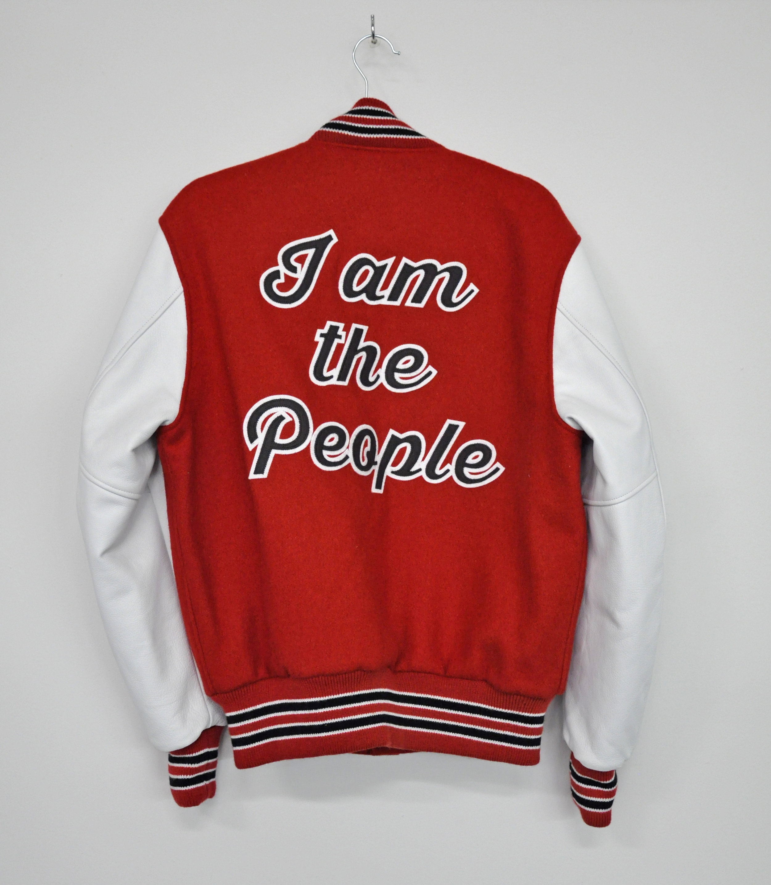 "Cheryl Pope, ""I AM THE PEOPLE"" from ""I'VE BEEN HEARD"", in collaboration with NYC Youth on Streetball (Jacket), Artist-designed letterman jacket, AP 1/2, 2017"