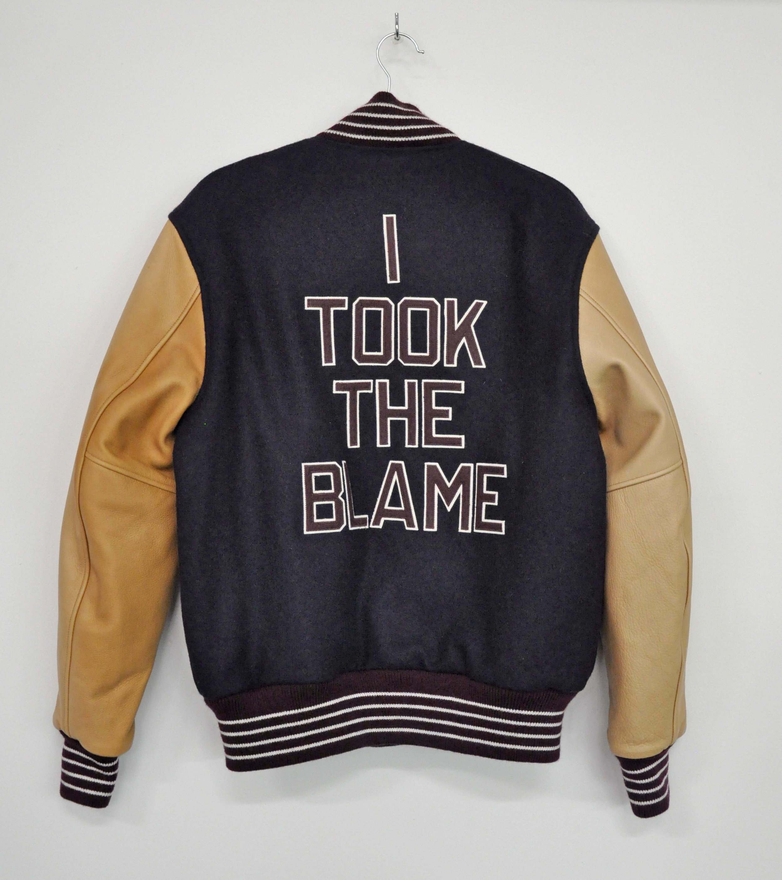 "Cheryl Pope, ""I TOOK THE BLAME"" from ""I'VE BEEN HEARD"", in collaboration with NYC Youth on Streetball (jacket), artist-designed letterman jacket, AP 1/2, 2017"