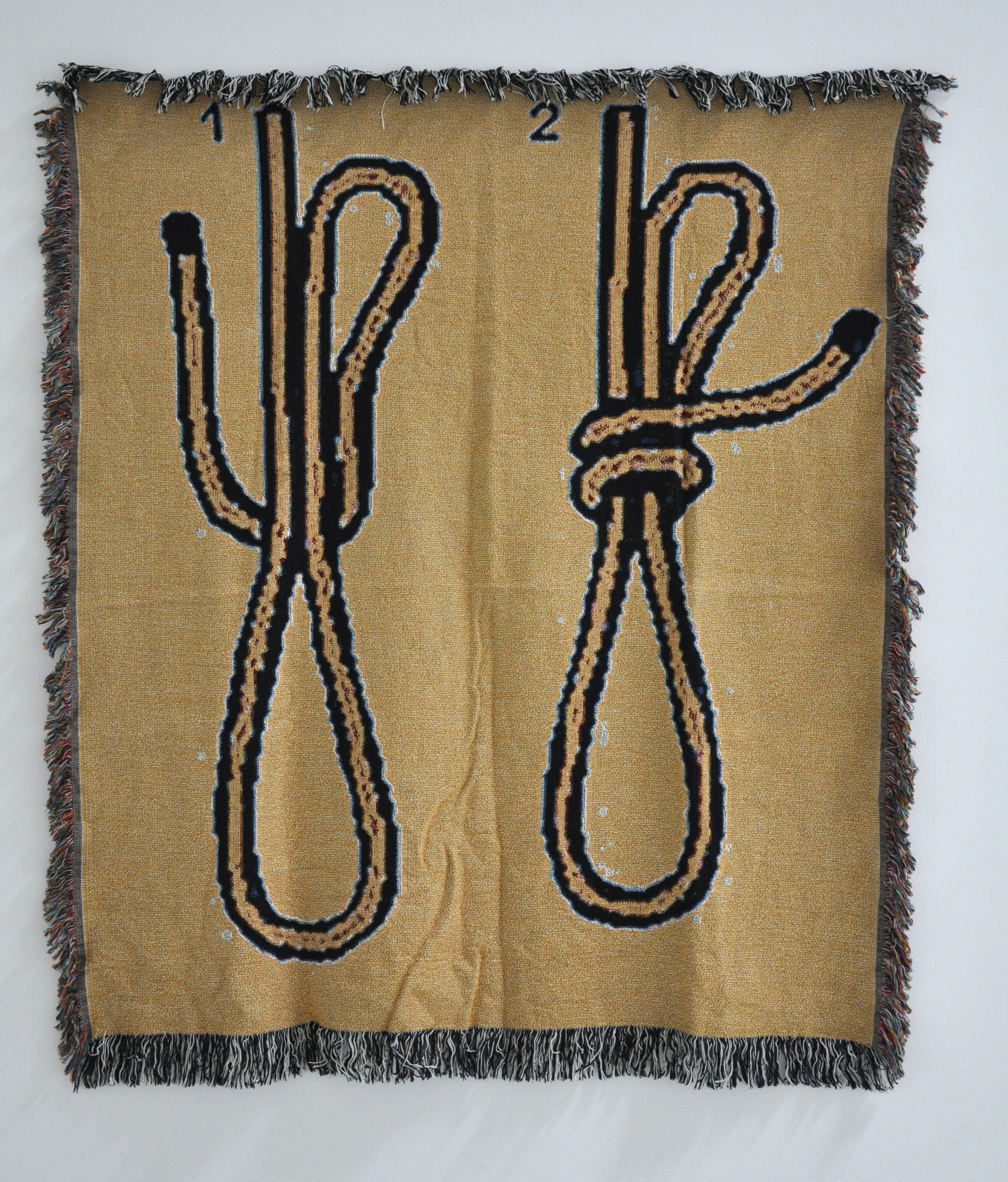 "Tosha Stimage, ""How to Tie a Noose Step 1 & 2"", woven blanket, 62 x 53 in, 2018"