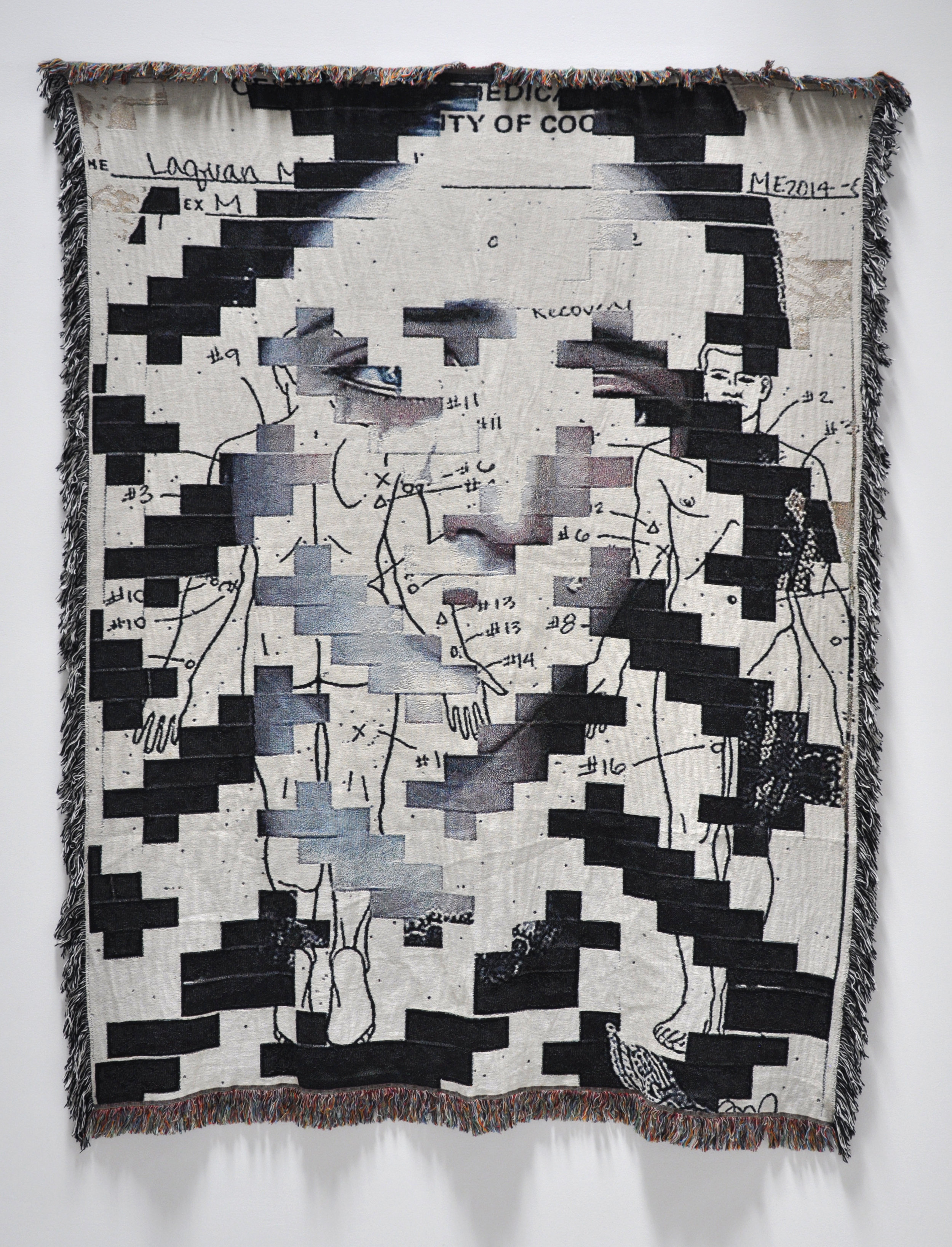 "Tosha Stimage, ""Two Sad"", woven blanket, 85 x 62 in, 2018"