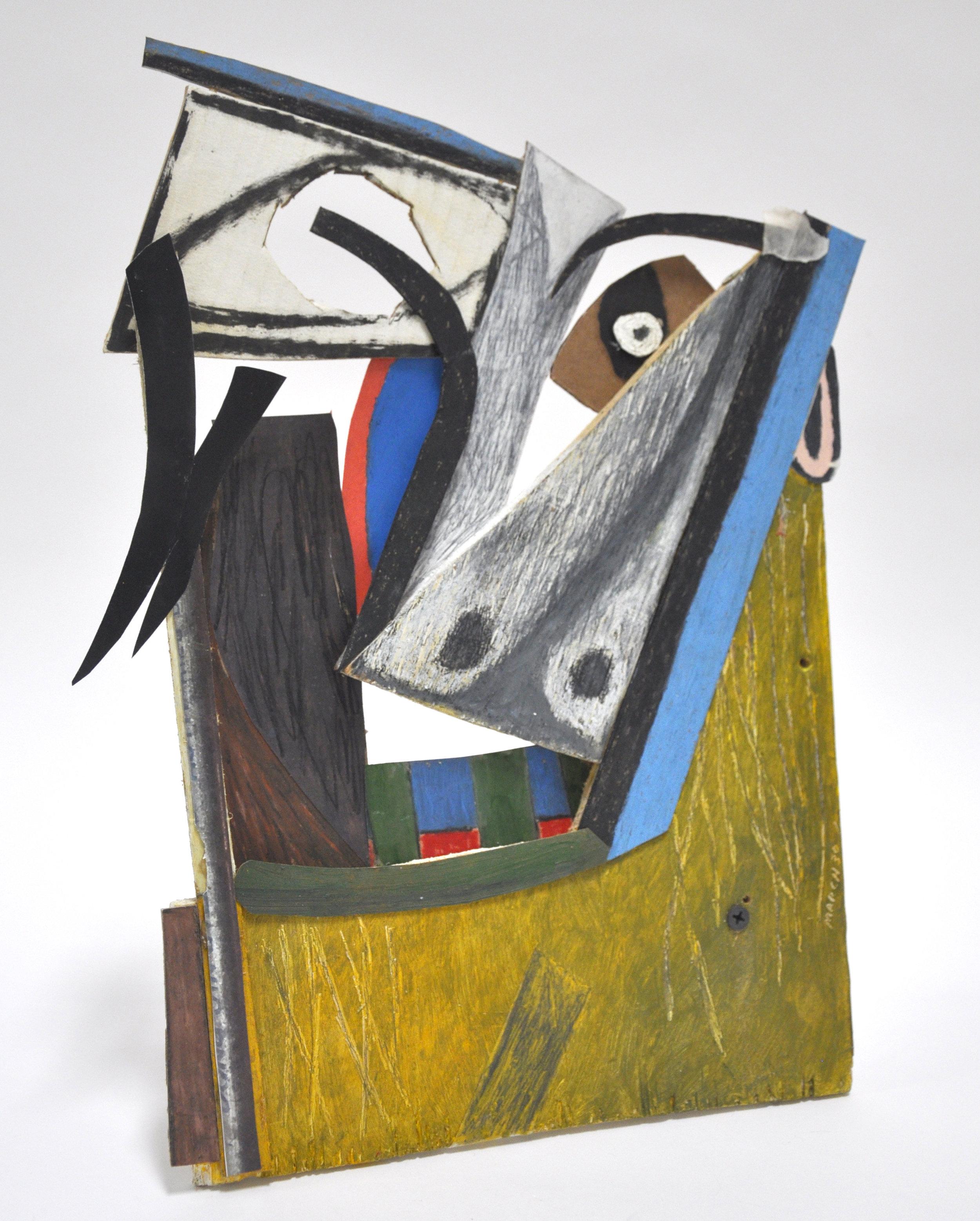 "Isaac Vazquez-Avila, ""ESL Assemblage"", paper, house paint, nails, wood, 9 1/2 x 12 in, 2018"