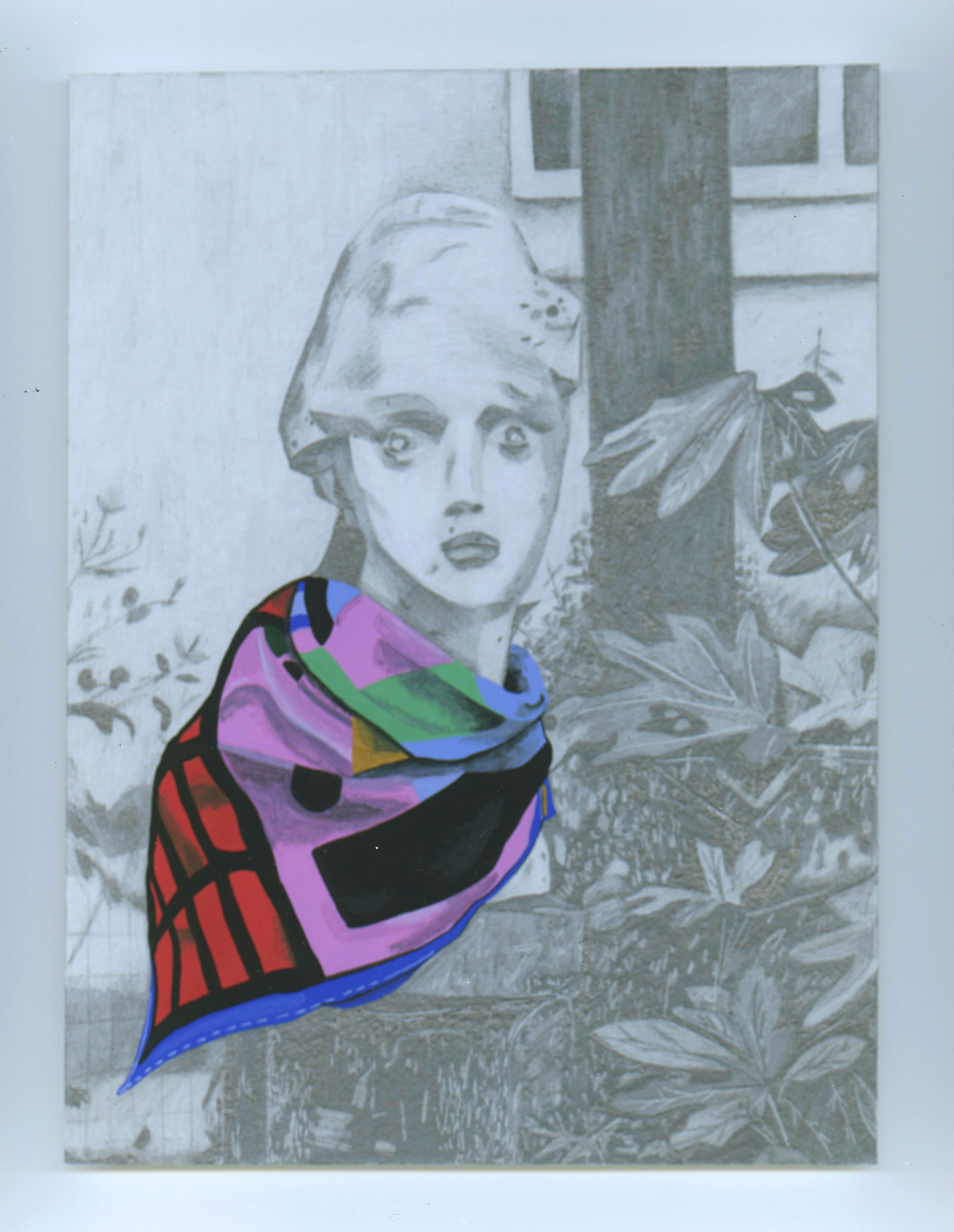 """Libby Black, """"Front View of Statue with Hermes Scarf"""", pencil on paper, 10 x 8 in, 2017"""