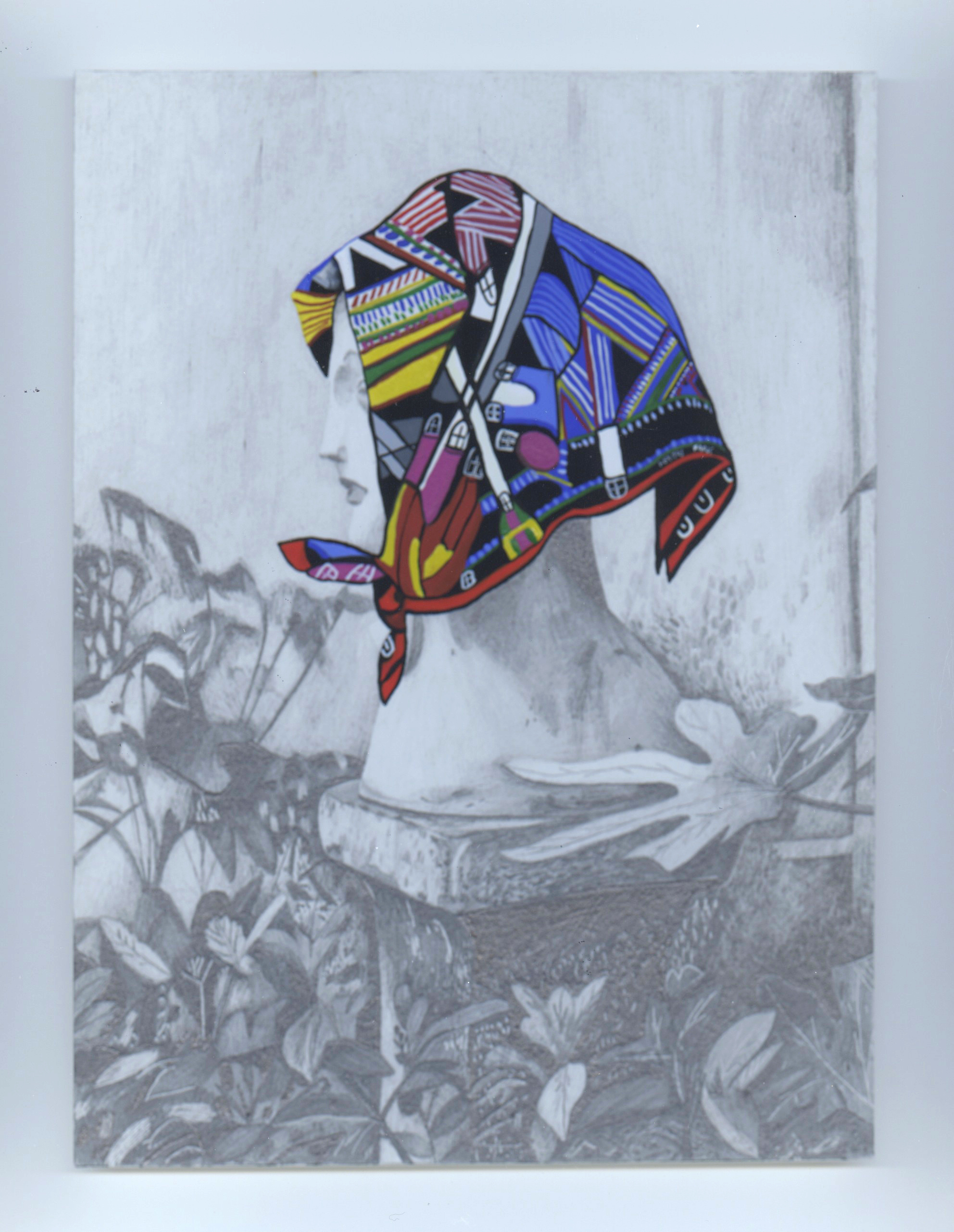 """Libby Black, """"Side View of Statue with Hermes Scarf, pencil on paper, 7 1/2 x 6 in, 2017"""