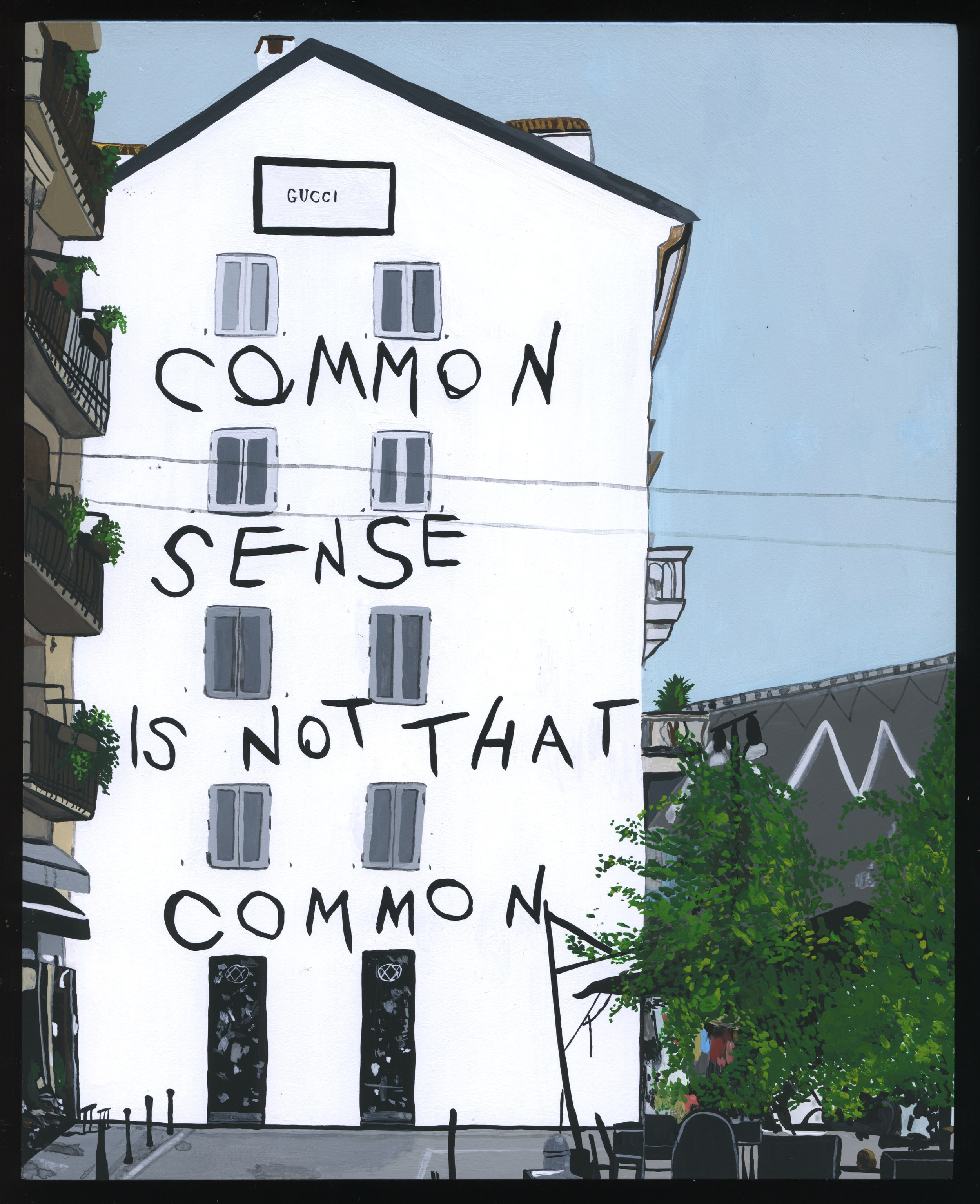 """Libby Black, """"Common Sense is Not That Common"""", gouache on wood panel, 10 x 8 in, 2017"""