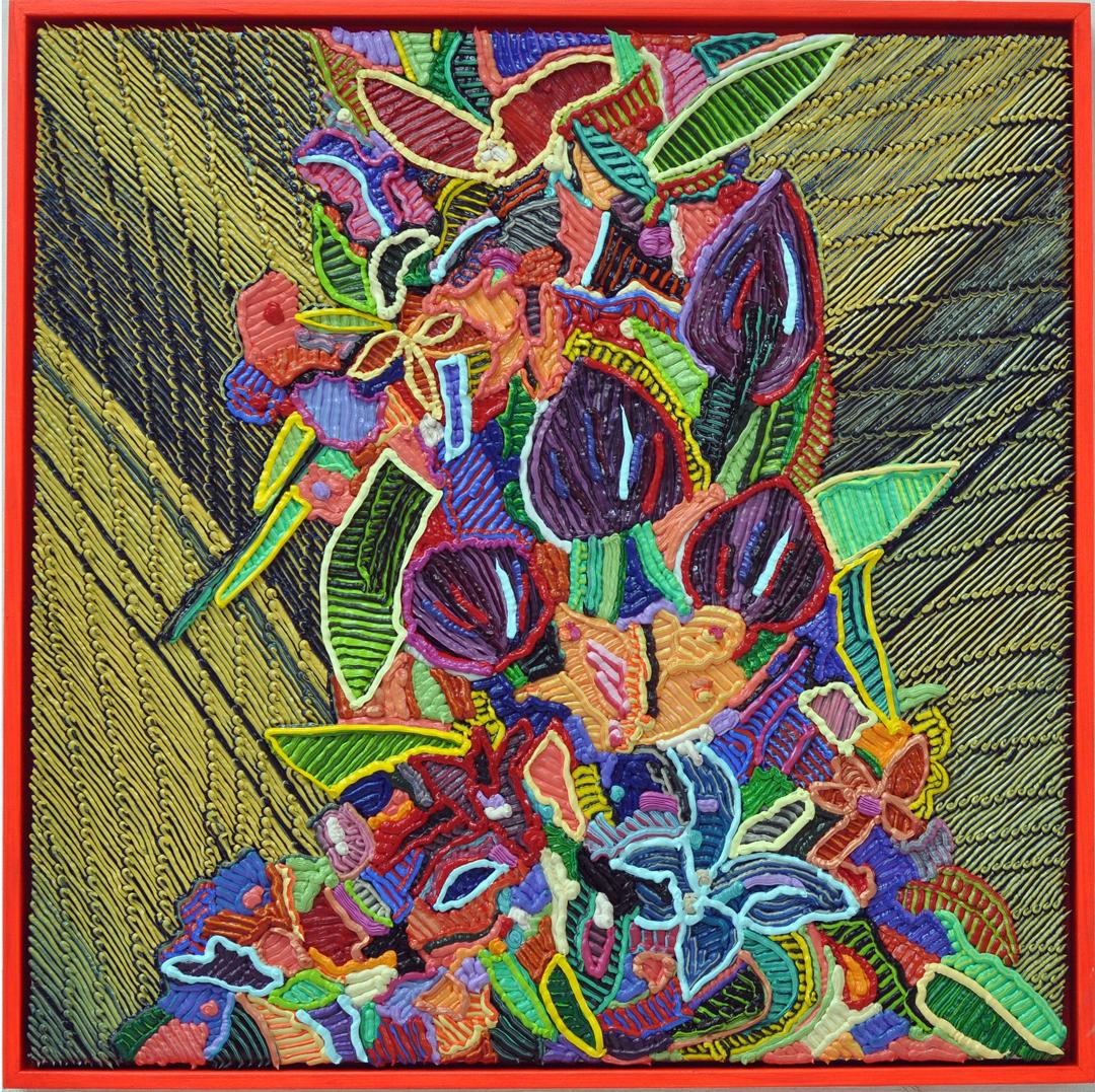 """Caroline Larsen, """"Acid Flowers"""", oil on linen with artist frame, 20 x 20 in, 2017"""