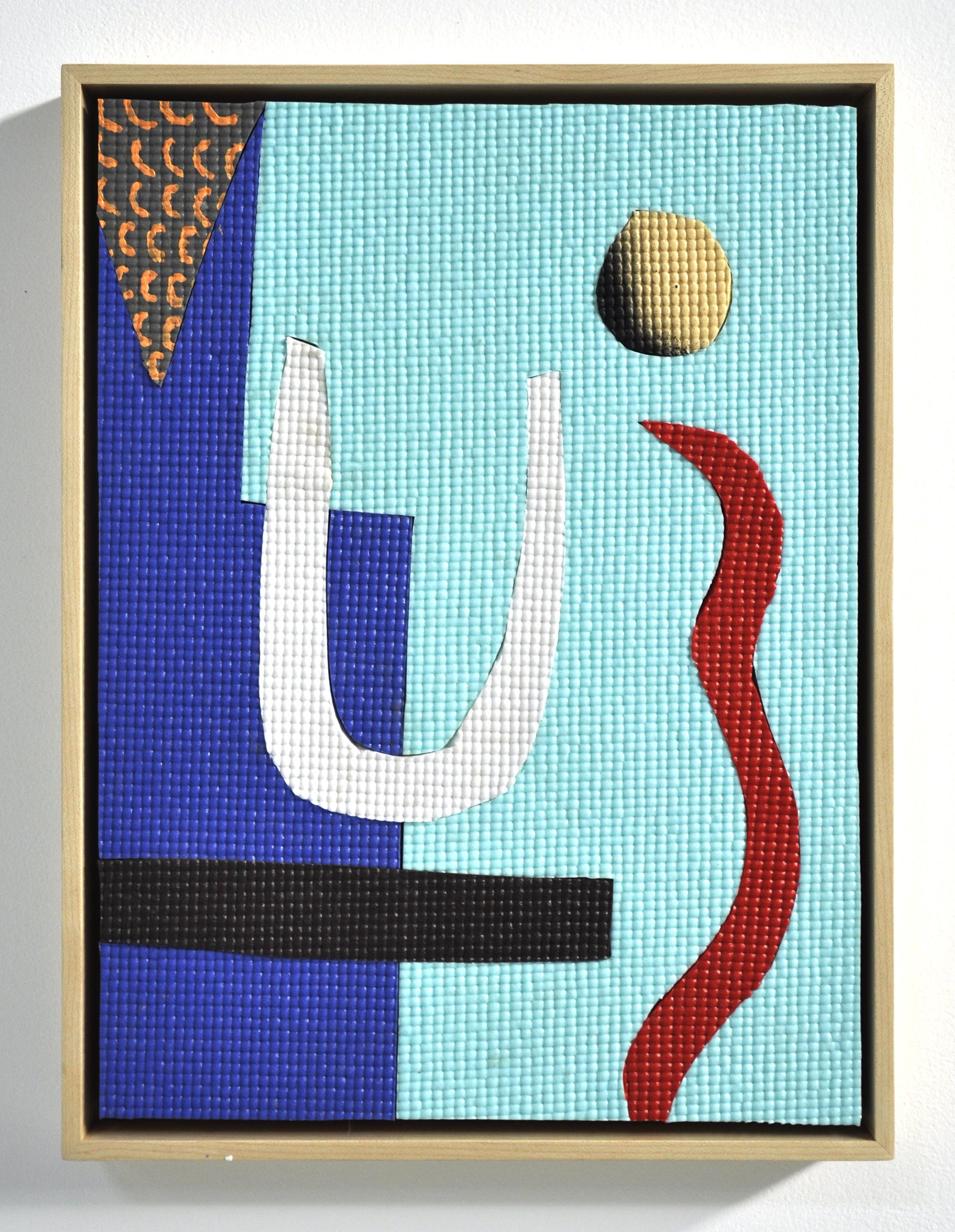 "Alex Ebstein, ""Vague Space"", Hand Cut PVC Yoga Mats, Acrylic on wood panel, 16 x 12 in, 2017"