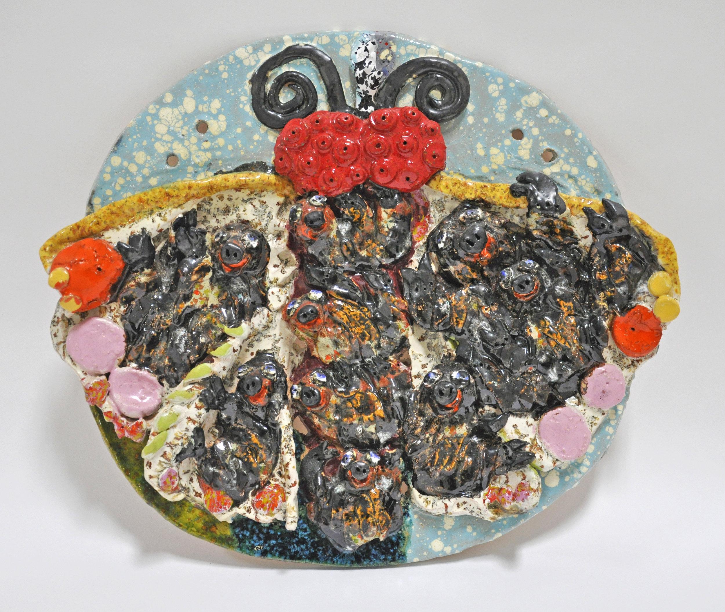"""Maija Peeples-Bright, """"Sloth Moth"""", glazed ceramic, 15 x 2 1/2 x 17 1/2 in, 1974"""